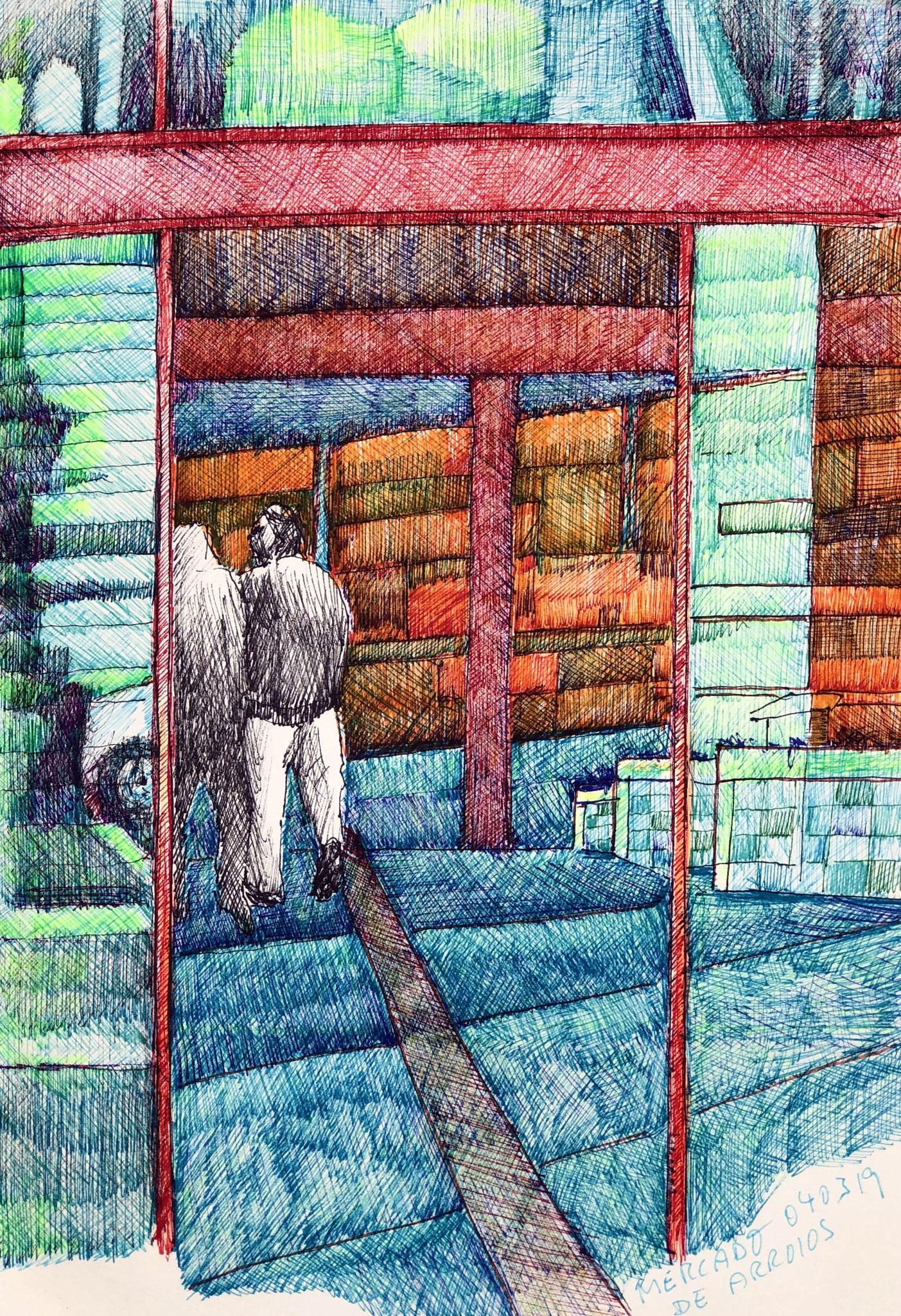 aus meinem Skizzenbuch: LISBOA, MERCADO     Mischtechnik auf Papier - 28 x 20cm