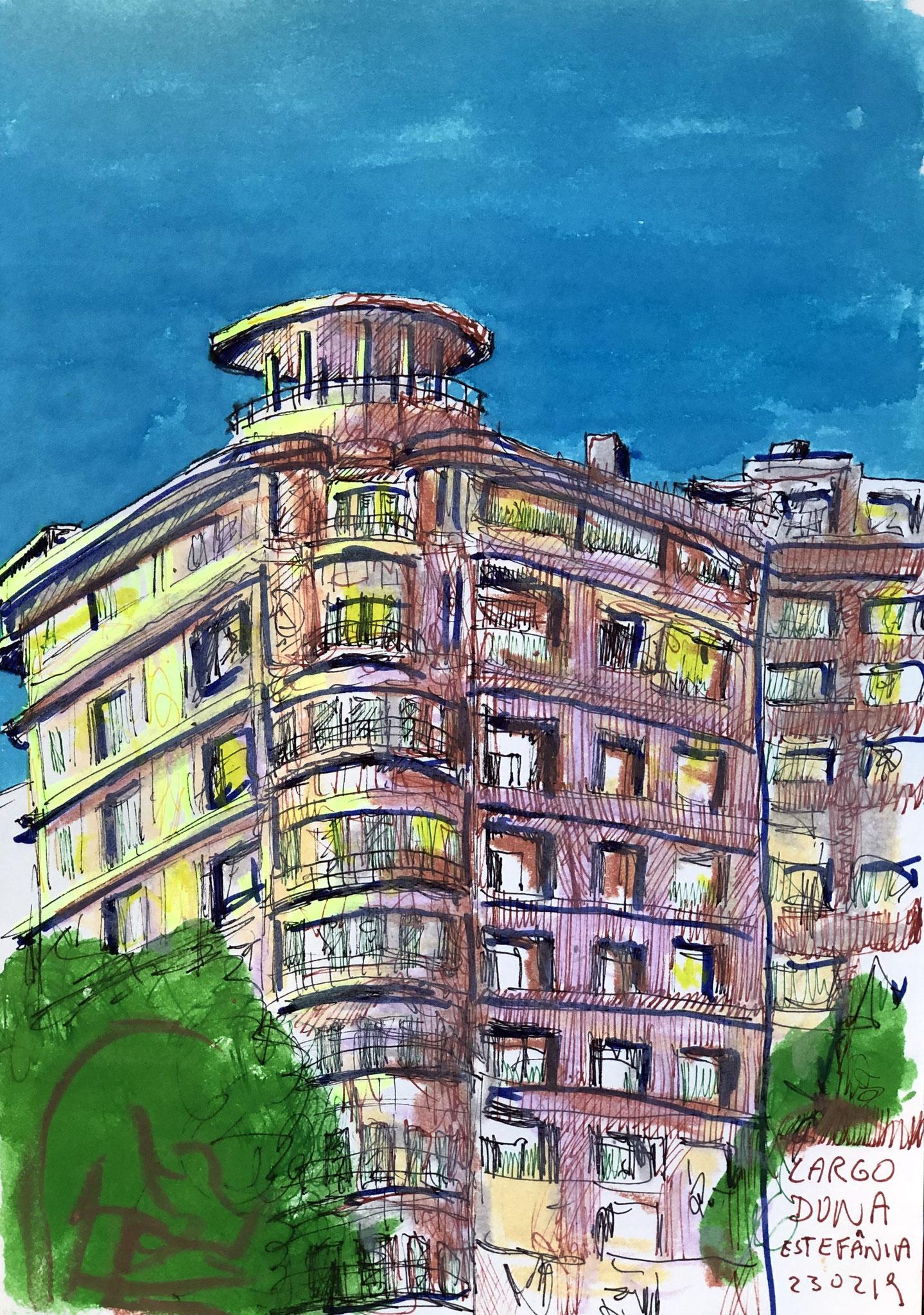 aus meinem Skizzenbuch: LISBOA, LARGO DONA ESTEFANIA     Mischtechnik auf Papier - 28 x 20cm
