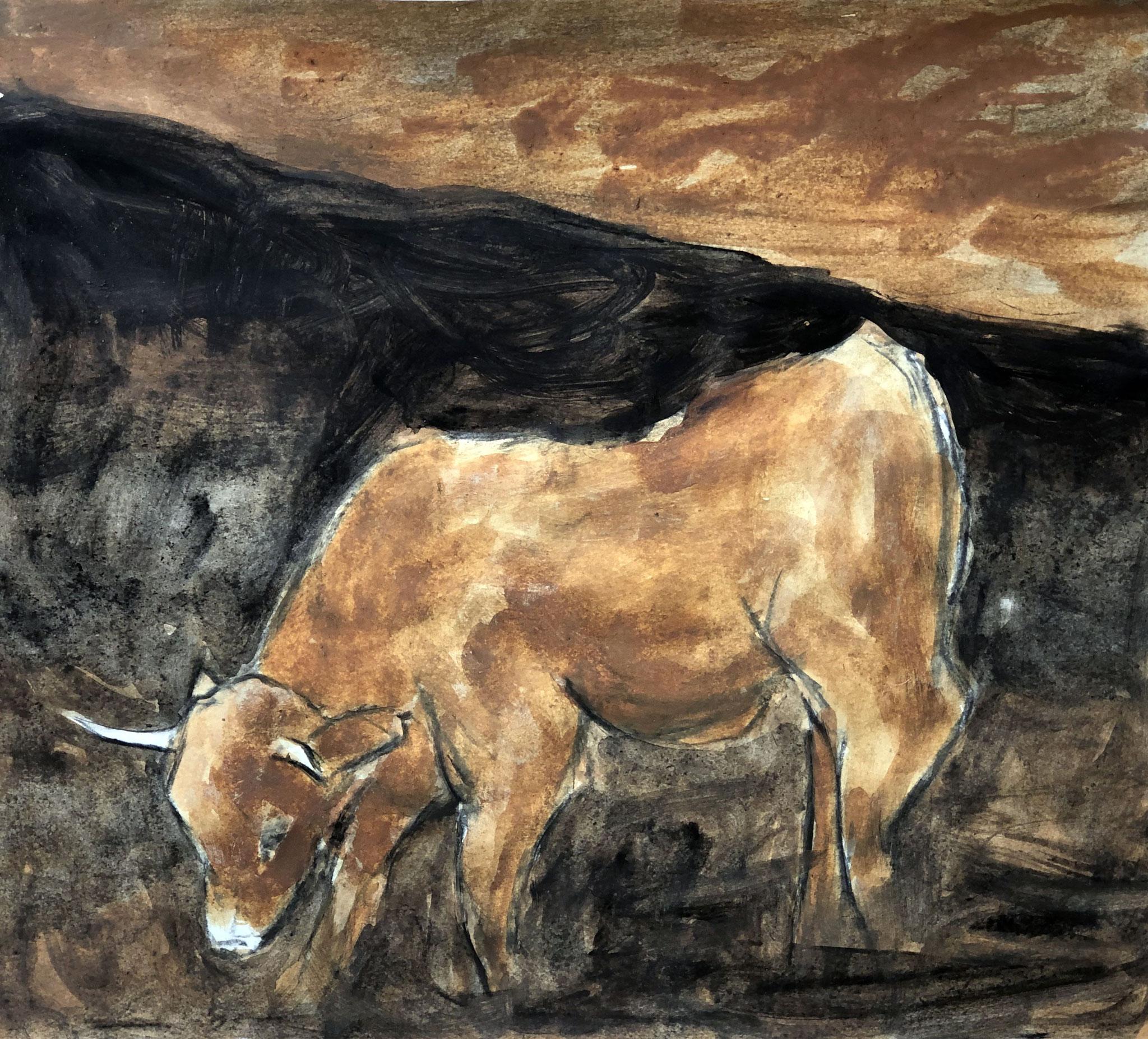 RETINTO XVI     Erden, Tintensekret vom Kalmar und Olivensaft auf Papier - 49 x 54 cm
