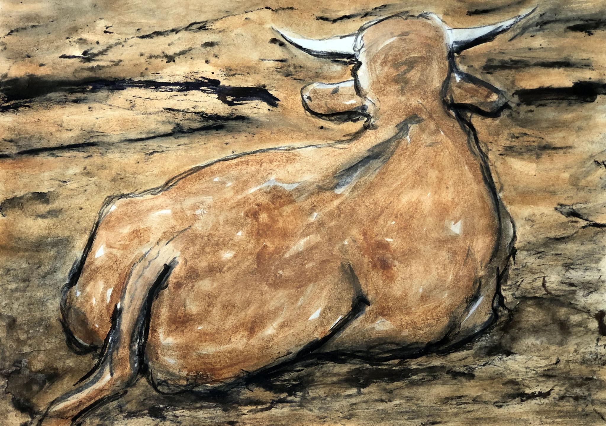 RETINTO XXI    Erden, Tintensekret vom Kalmar und Olivensaft auf Papier - 49 x 69 cm