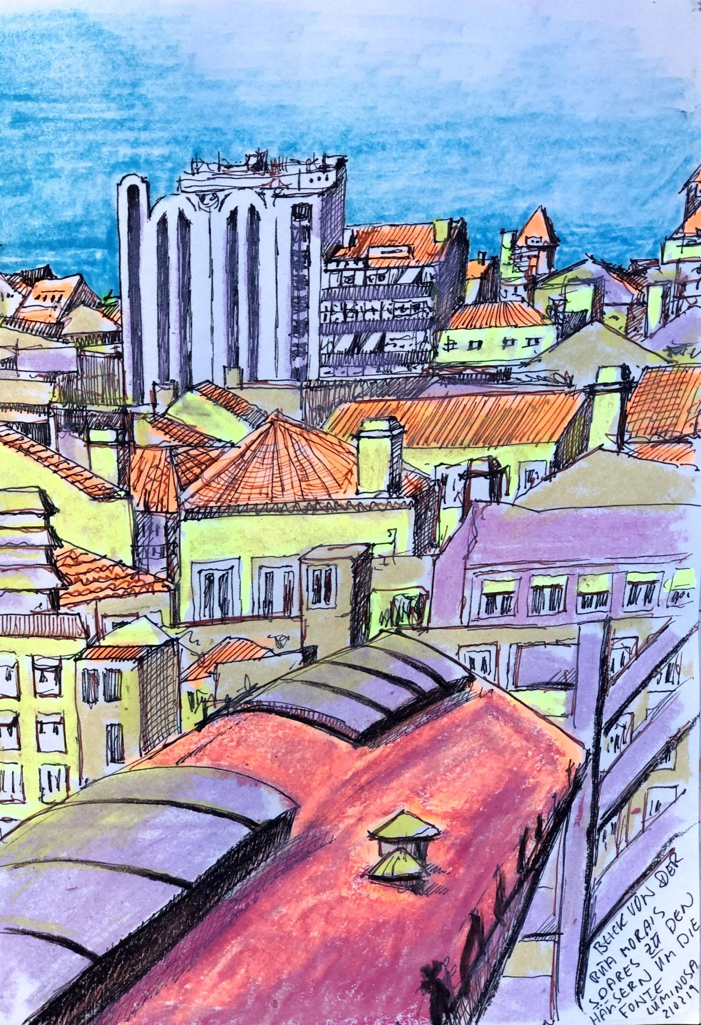 aus meinem Skizzenbuch: LISBOA, BLICK VON DER RUA MORAIS SOARES ZUR FONTE LUMINOSA      Mischtechnik auf Papier - 28 x 20cm
