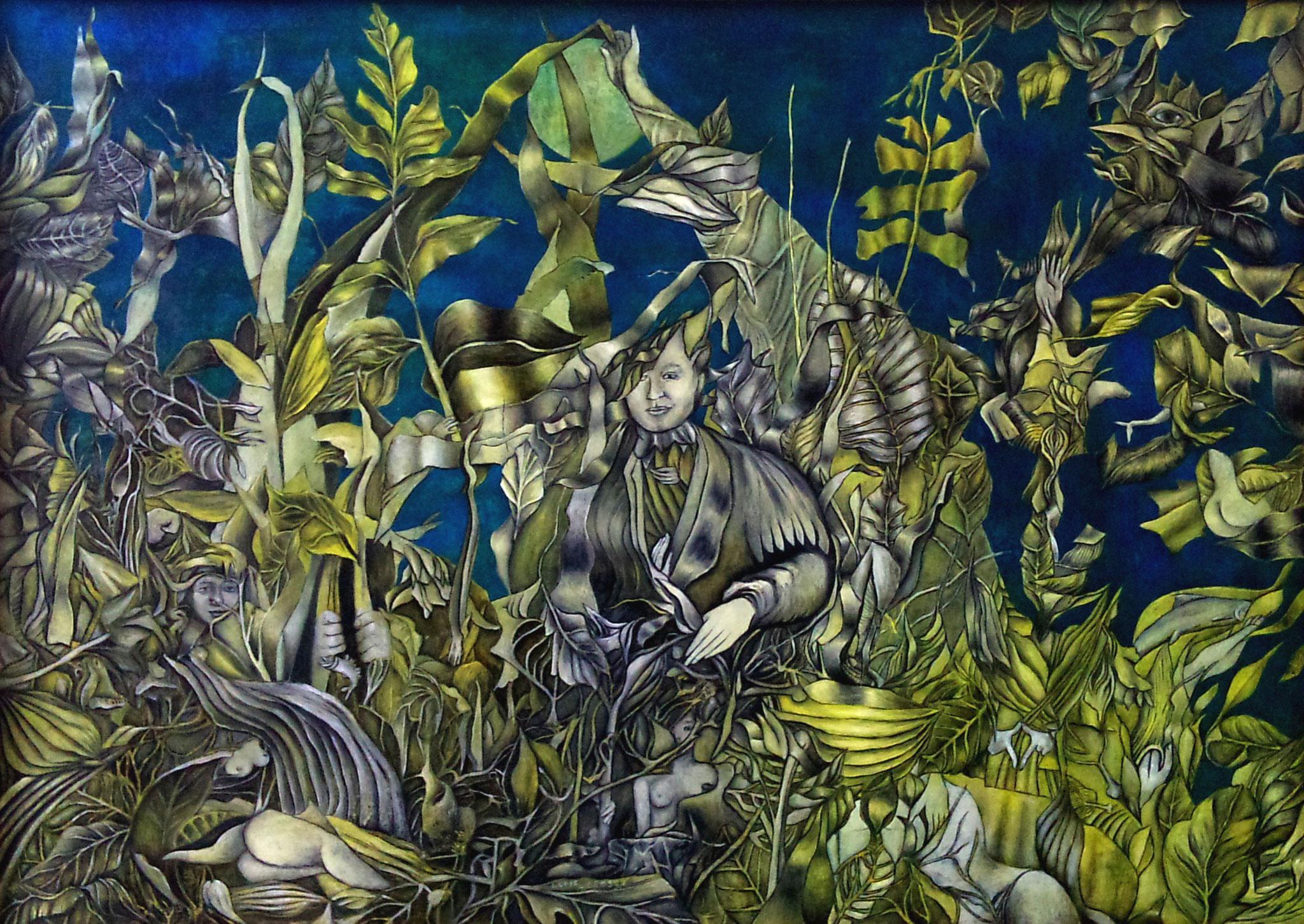 SEEGARTEN (STARNBERGER SEE)      Öl auf Spanplatte - 50 x 70 cm