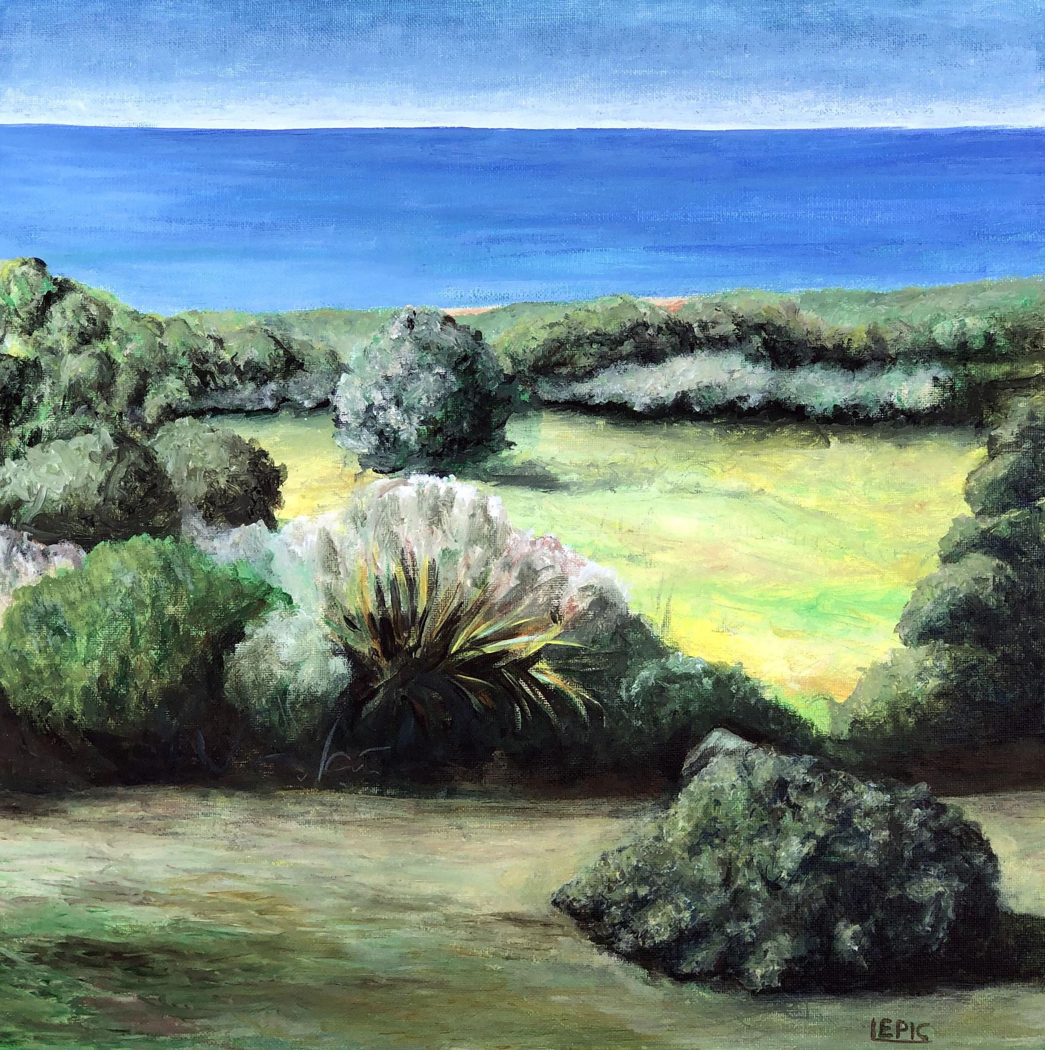 VISTA SOBRE LA BAHIA DE BOLONIA, Acryl auf Leinwand - 40 x 40 cm