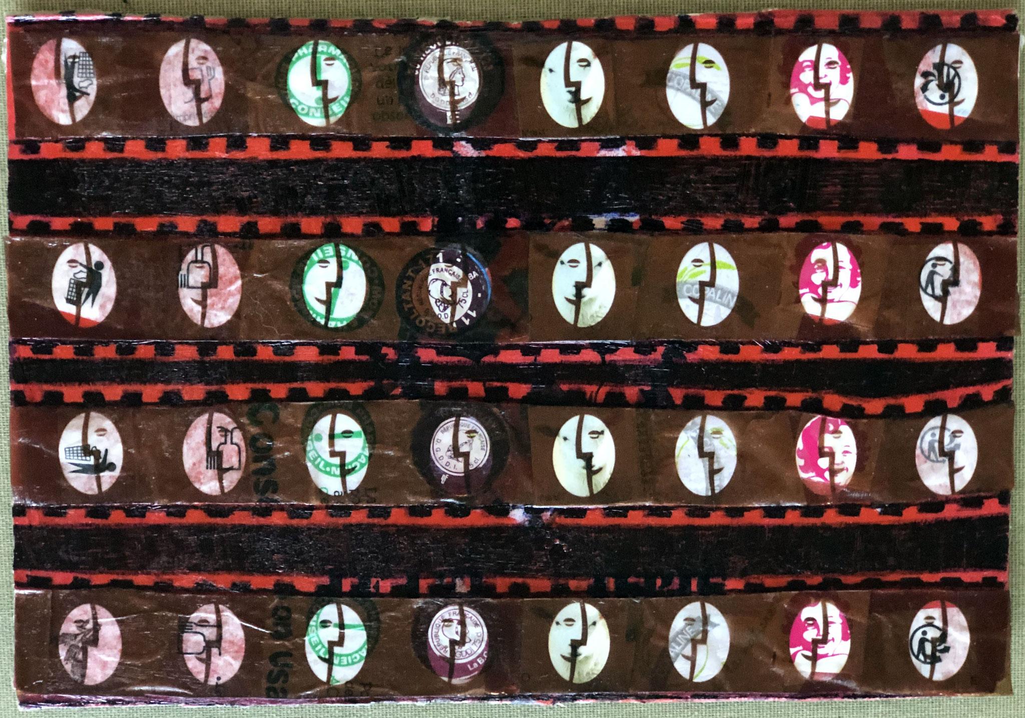 JE T'EMMÈNE AU CINÉ LE MERCREDI    Mischtechnik auf Karton - 17 x 25 cm