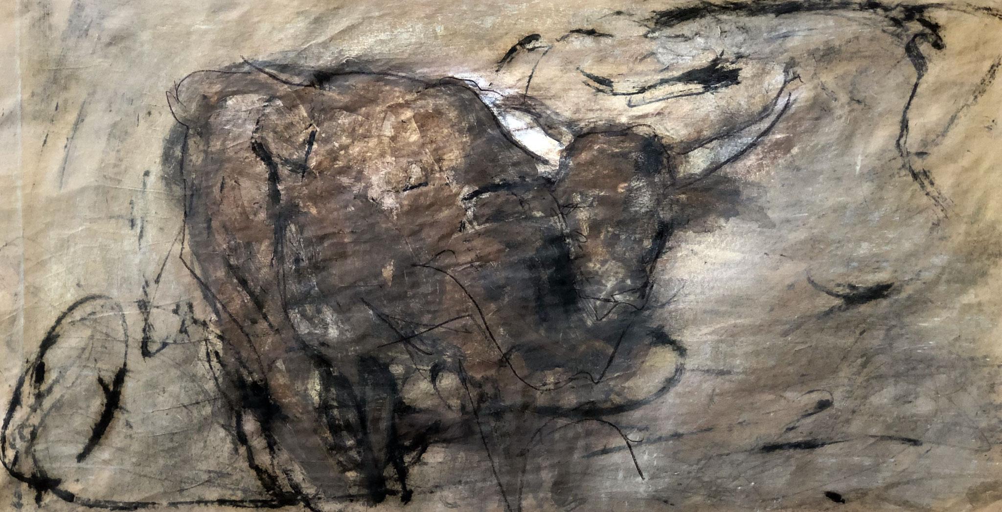 RETINTO XVII     Erden, Tintensekret vom Kalmar und Olivensaft auf Papier - 34 x 63 cm
