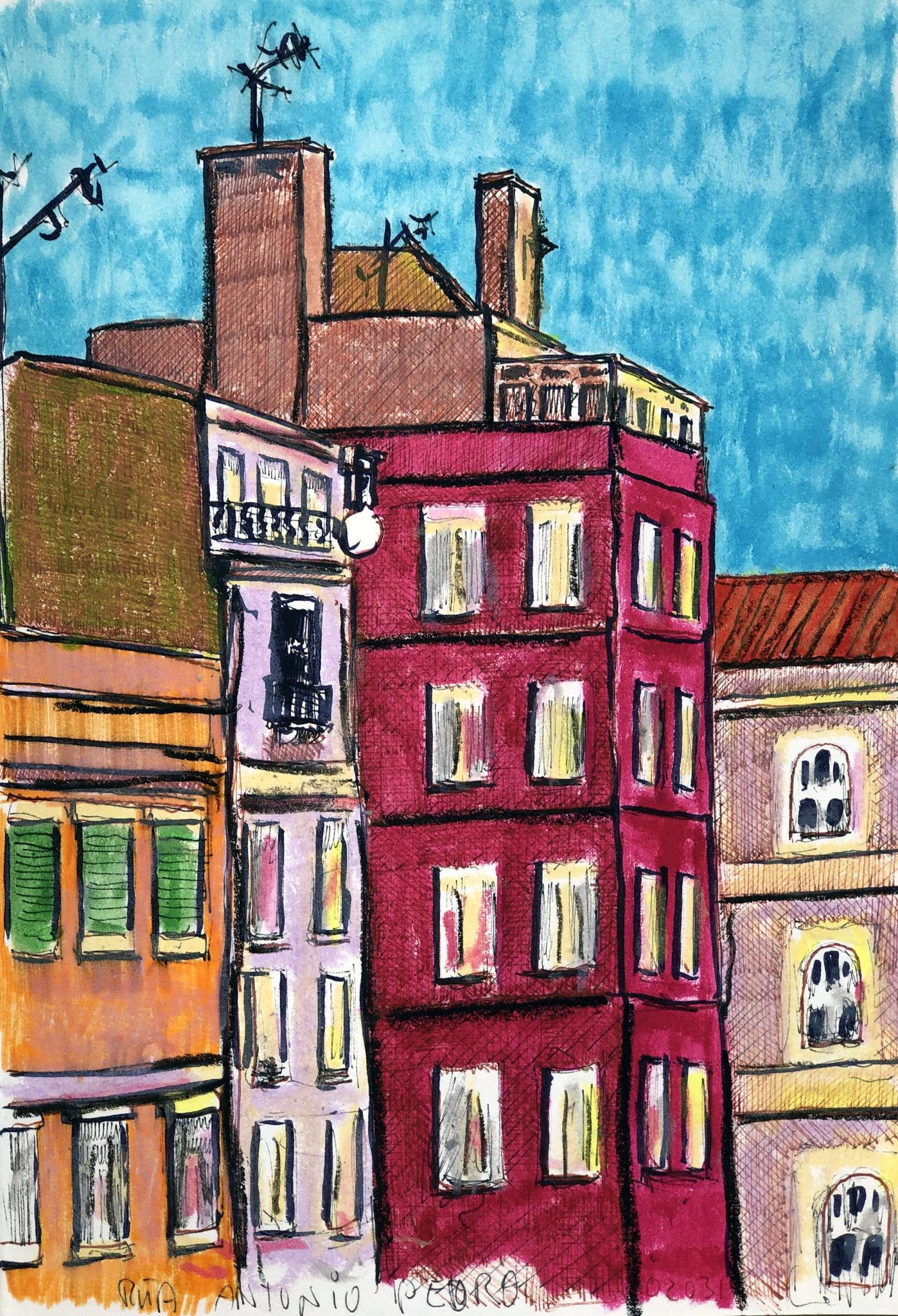 aus meinem Skizzenbuch: LISBOA, RUA ANTONIO PEDRO     Mischtechnik auf Papier - 28 x 20cm
