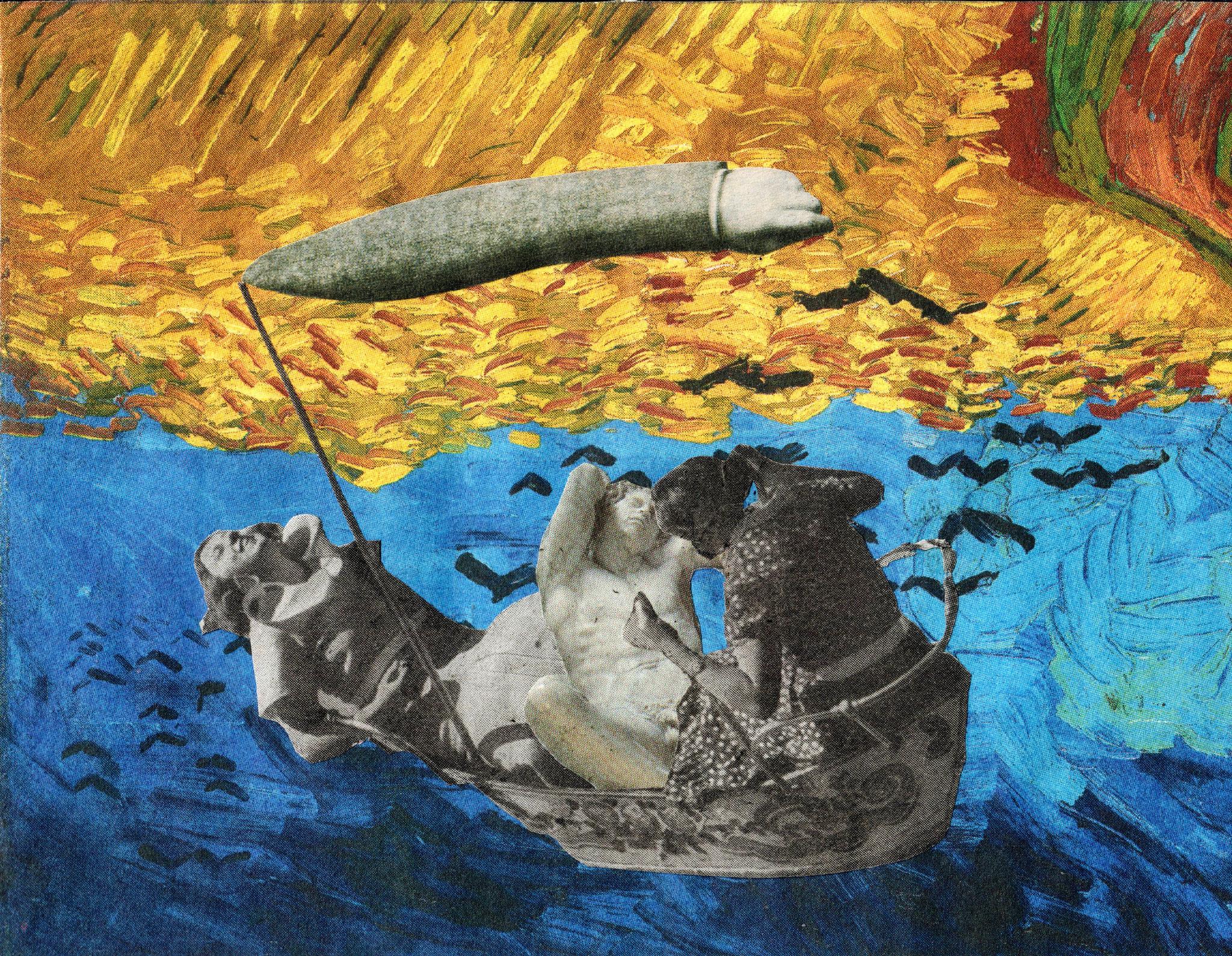 BARCA/LE FRONTIERE ESTERNE EUROPEE       Collage auf Papier - 17 x 17 cm
