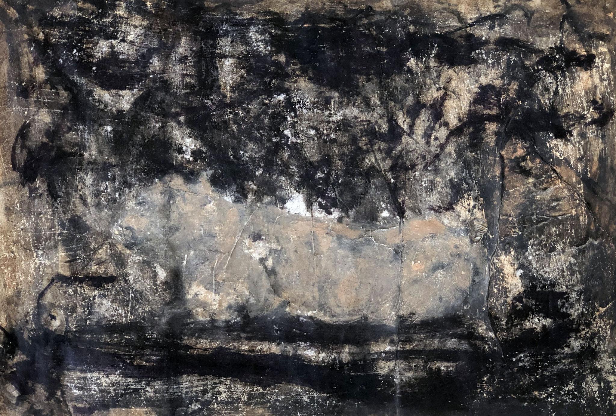 RETINTO XIV     Erden, Tintensekret vom Kalmar und Olivensaft auf Papier - 29 x 40 cm