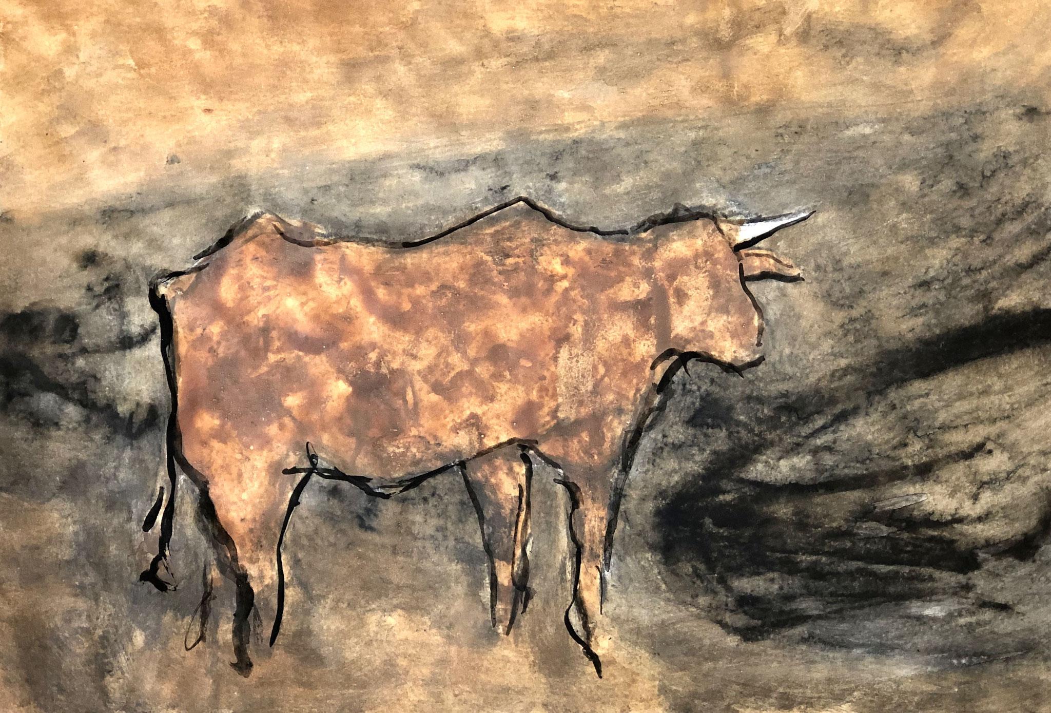 RETINTO XII    Erden, Tintensekret vom Kalmar und Olivensaft auf Papier - 29 x 40 cm