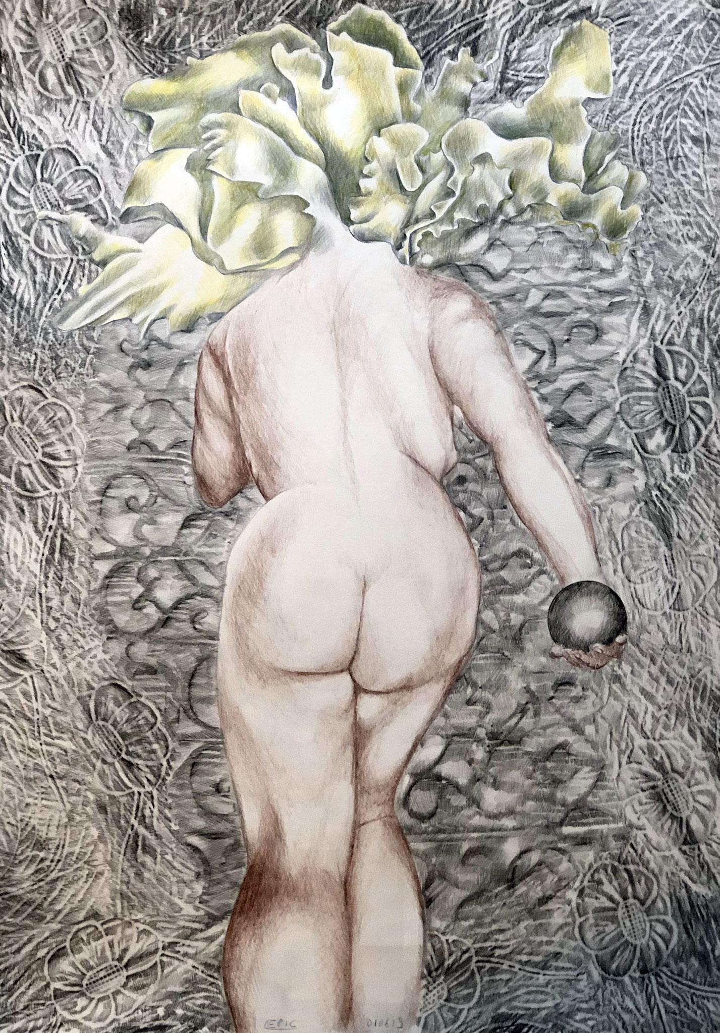 FANNY Graphit und Bunststifte auf Papier - 70 x 50 cm