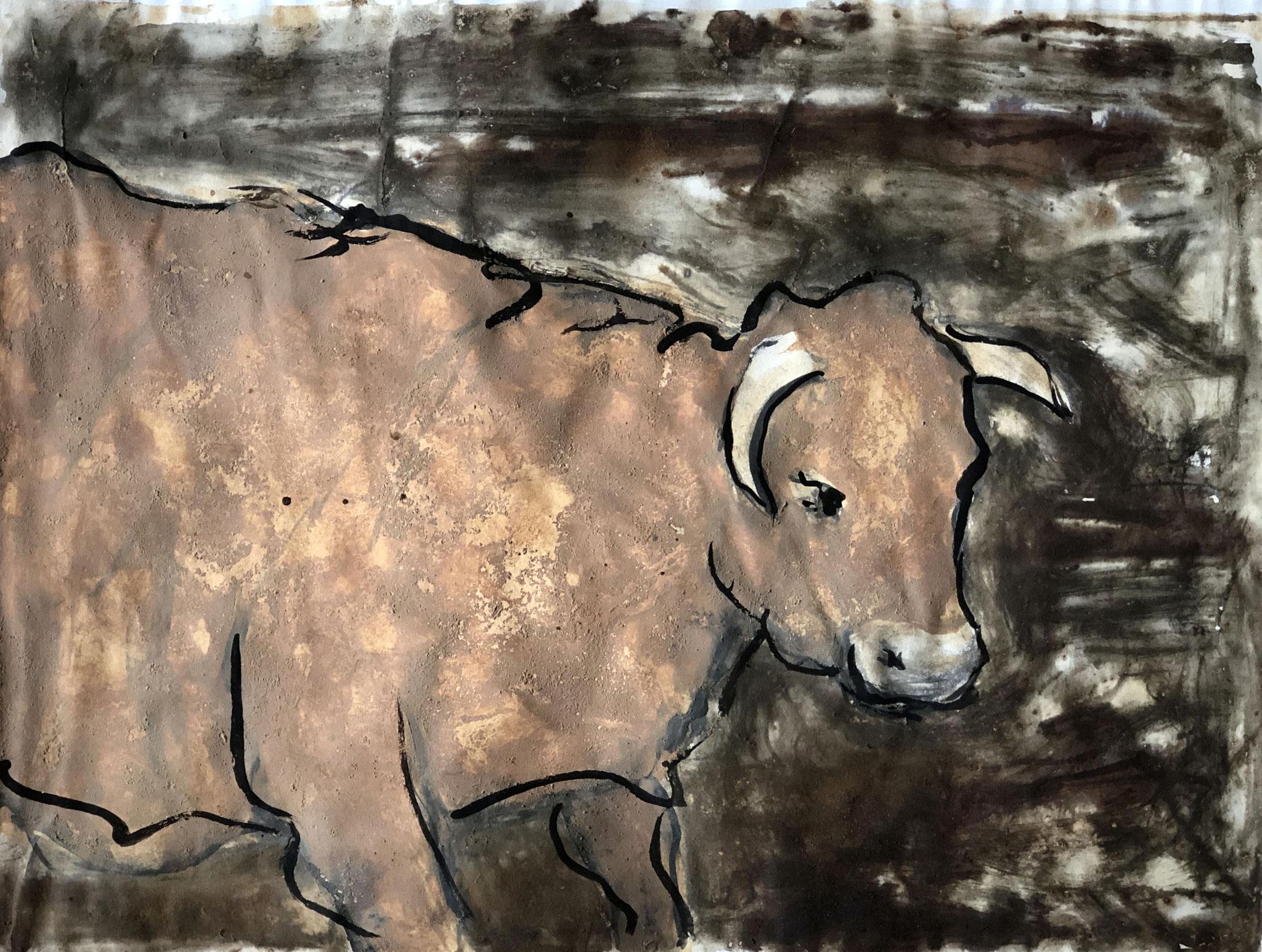 RETINTO XXIV     Erden, Tintensekret vom Kalmar und Olivensaft auf Papier - 29 x 40 cm