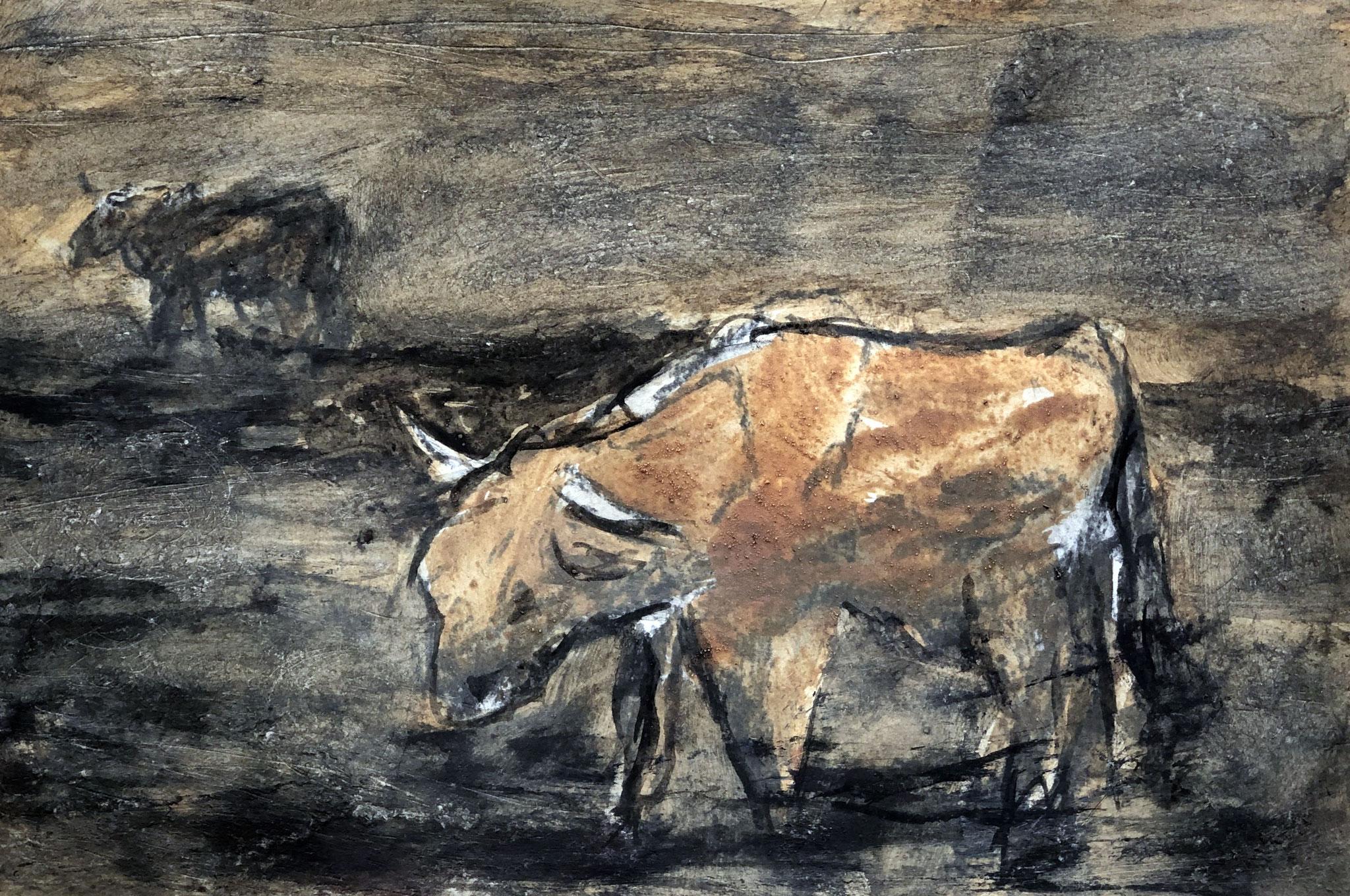 RETINTO IX    Erden, Tintensekret vom Kalmar und Olivensaft auf Papier - 21 x 29 cm
