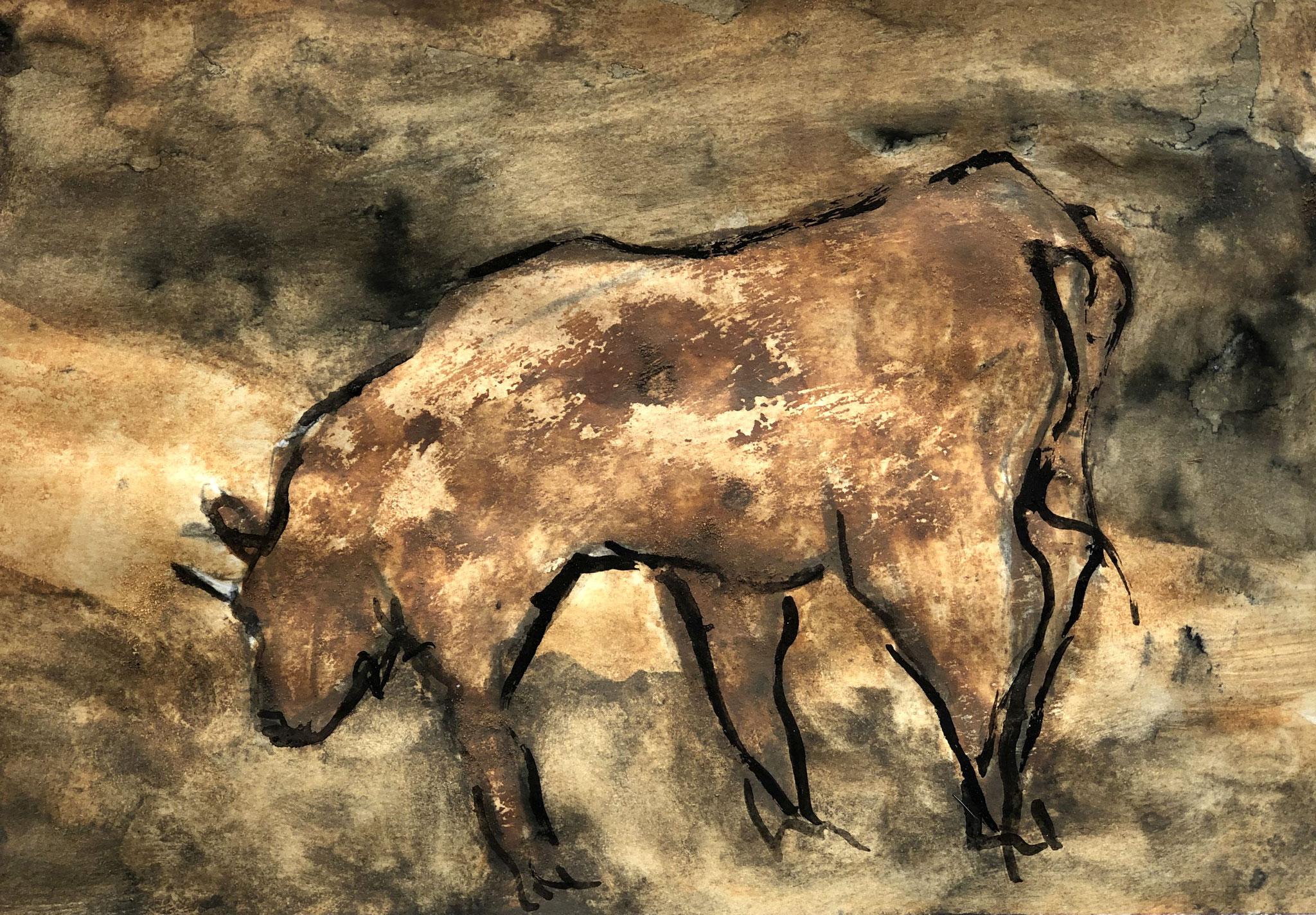 RETINTO X    Erden, Tintensekret vom Kalmar und Olivensaft auf Papier - 21 x 29 cm
