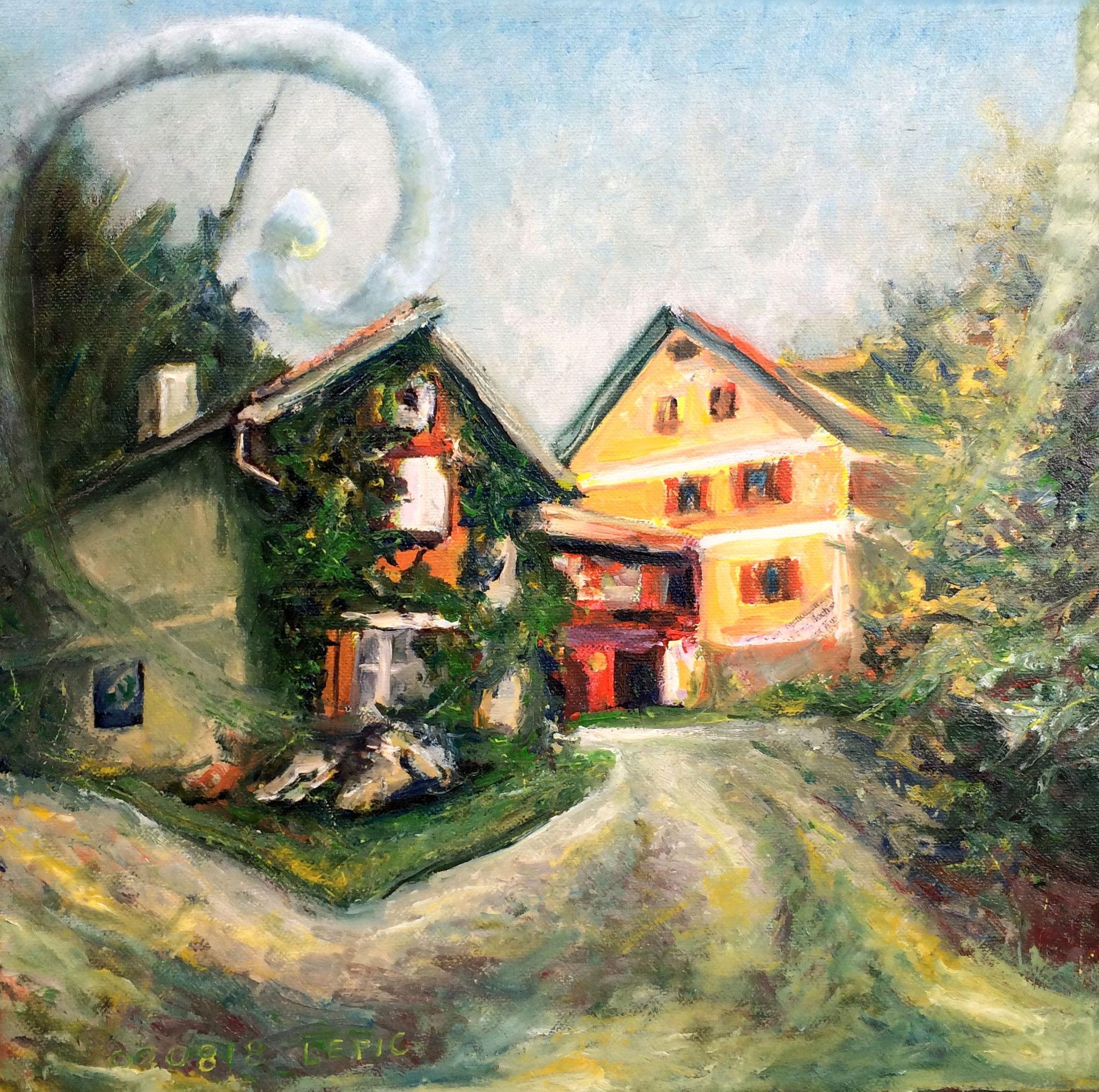 CHRISTOPH PROBSTS GEBURTSHAUS IN MURNAU    Mischtechnik auf Leinwand - 30 x 30 cm