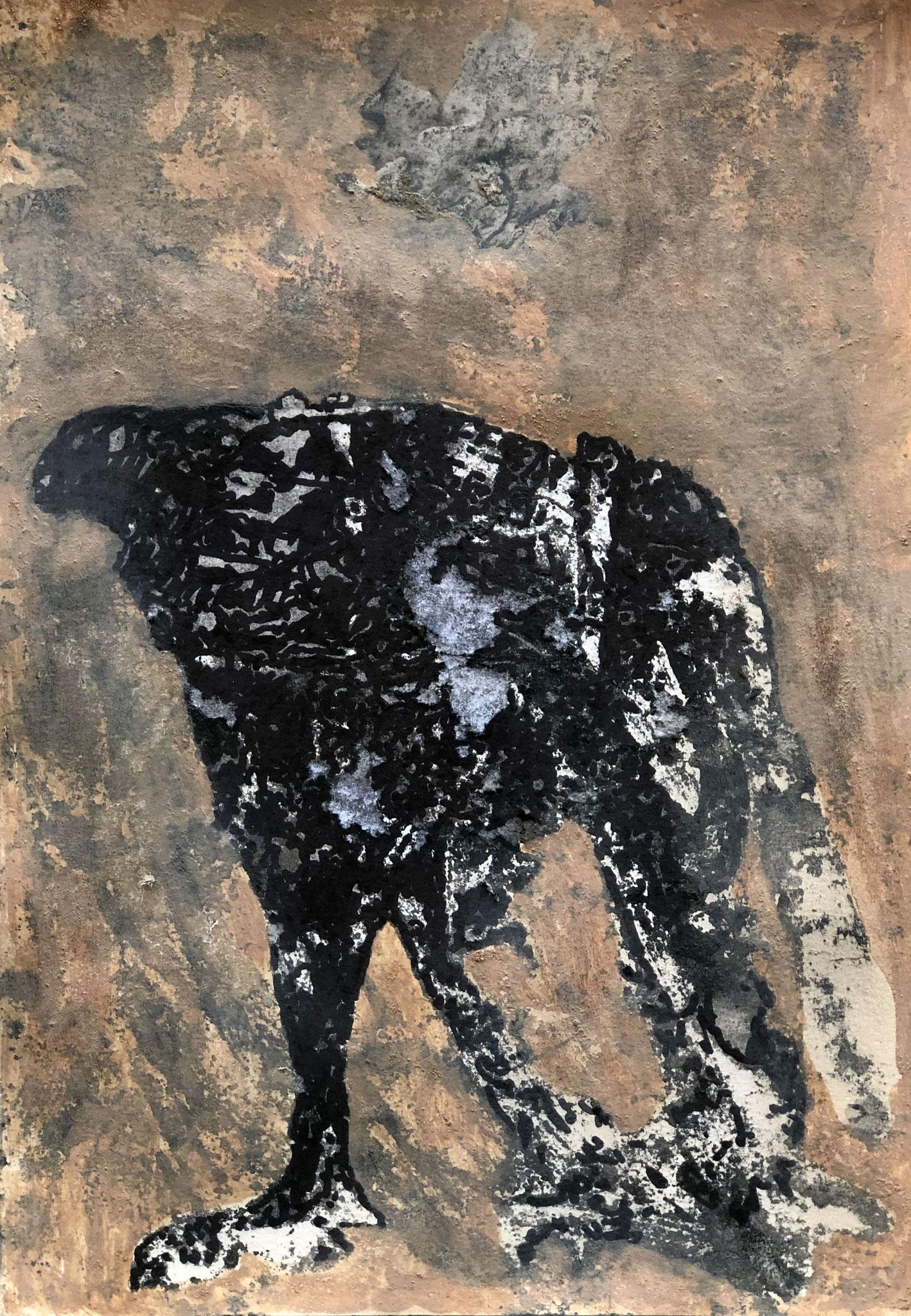 EL CHAPARRAL          Erden, Tintensekret vom Kalmar und Olivensaft auf Papier - 29 x 21 cm