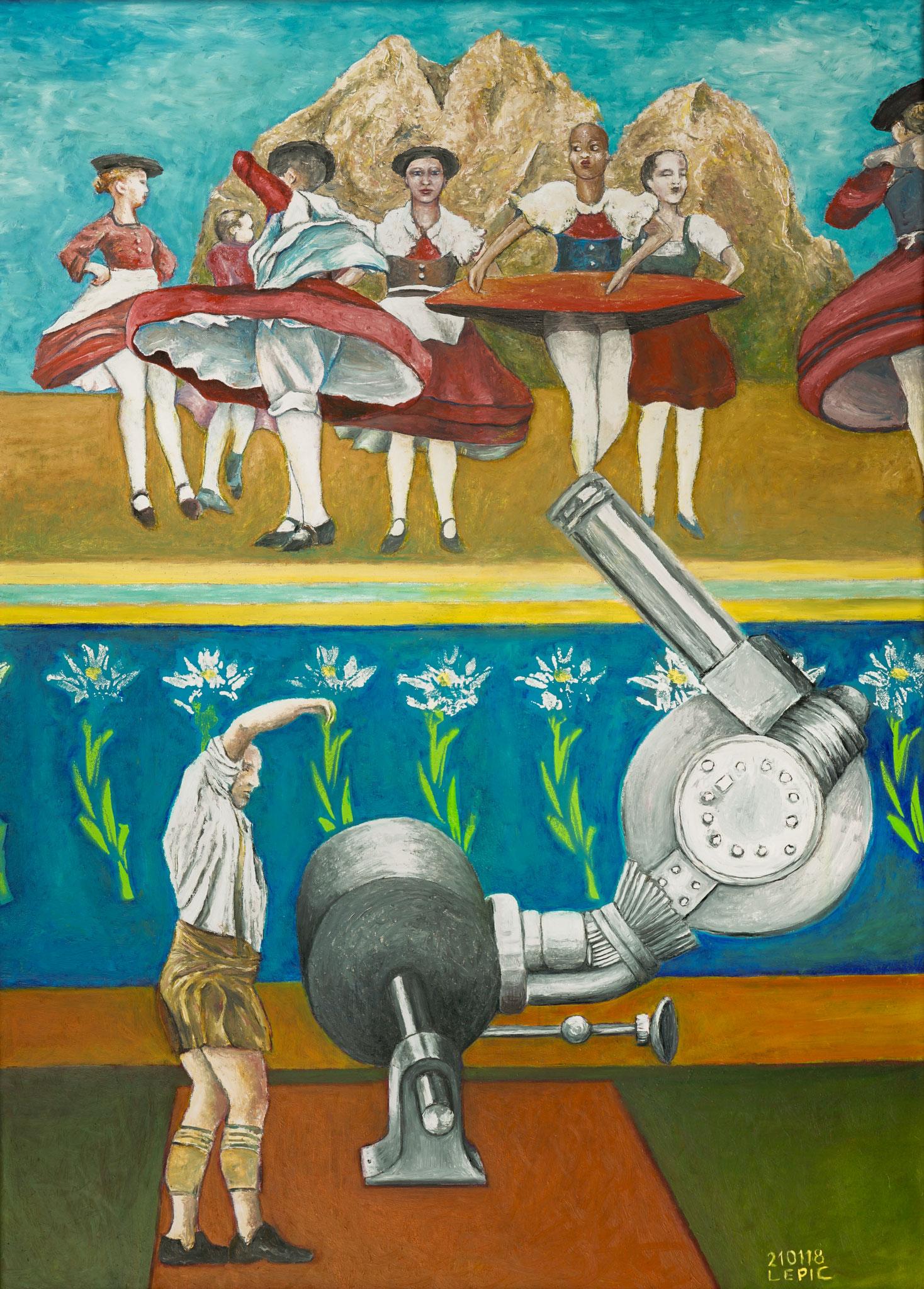 FÖHNTANZ IN MURNAU     Öl und Acryl auf Spanplatte - 70 x 50 cm