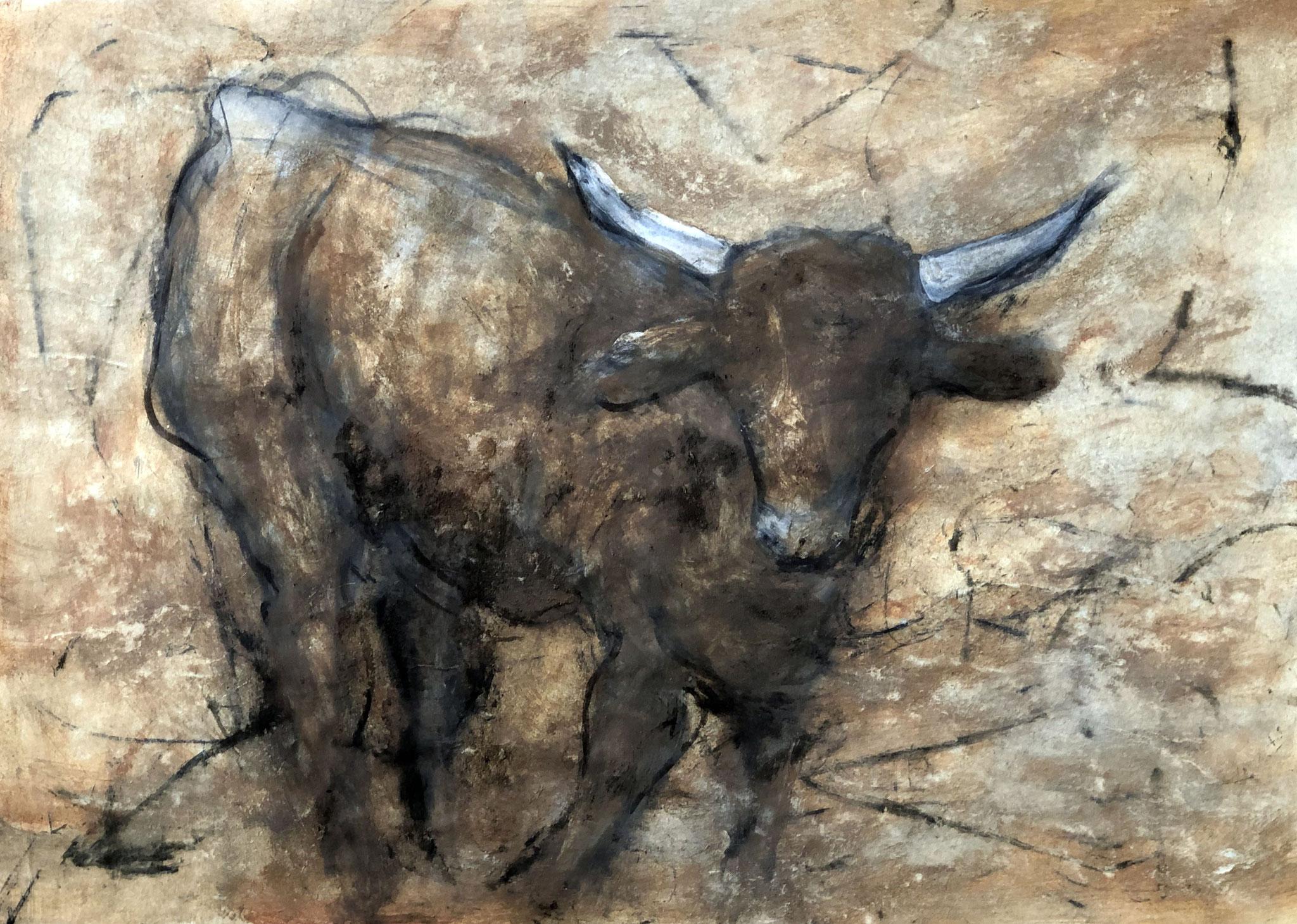 RETINTO XVIII     Erden, Tintensekret vom Kalmar und Olivensaft auf Papier - 49 x 69 cm