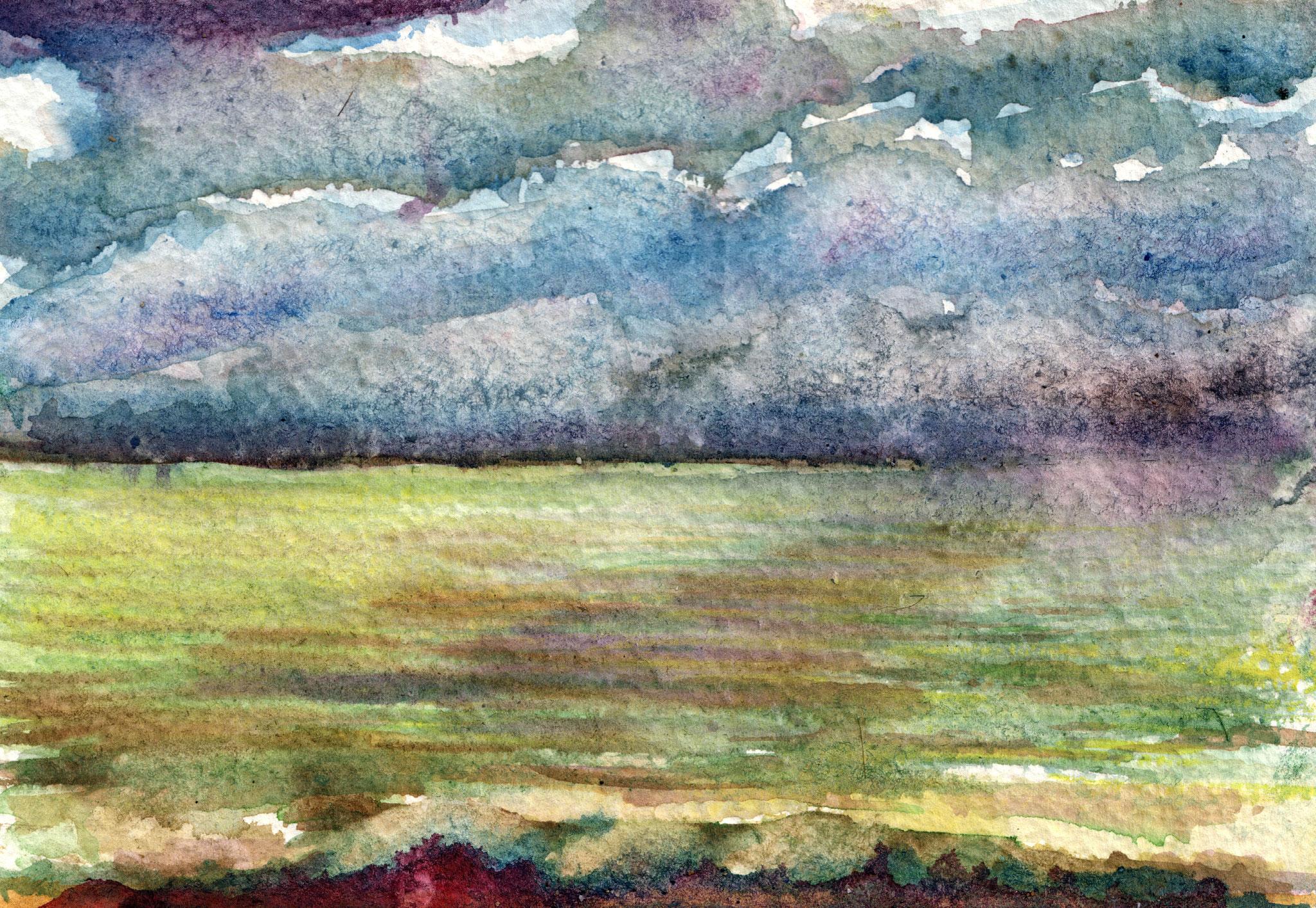 DIE SEE VOR HONFLEUR    Aquarell auf Papier - 13 x 18 cm