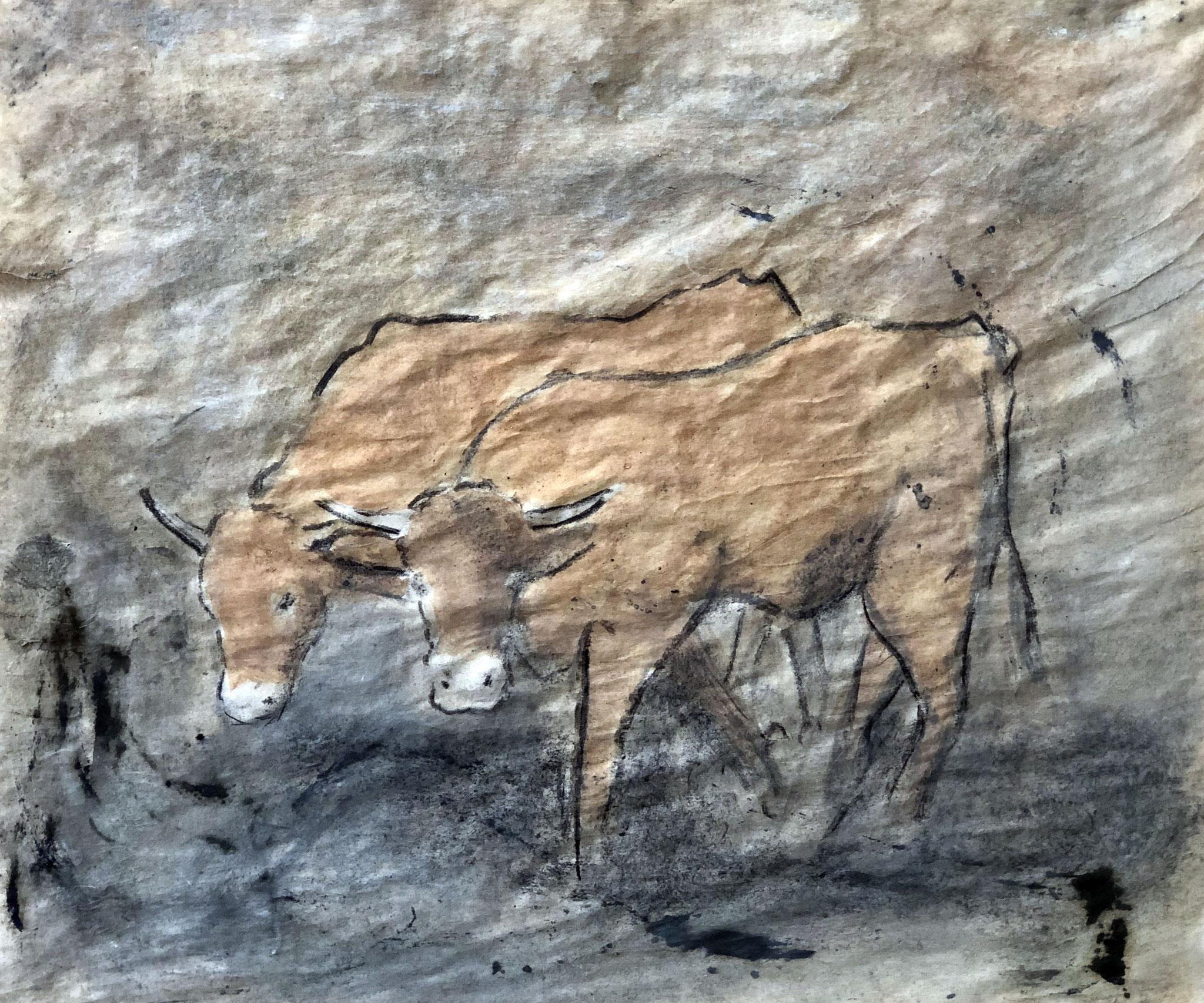 RETINTO XV   Erden, Tintensekret vom Kalmar und Olivensaft auf Papier - 39 x 45 cm