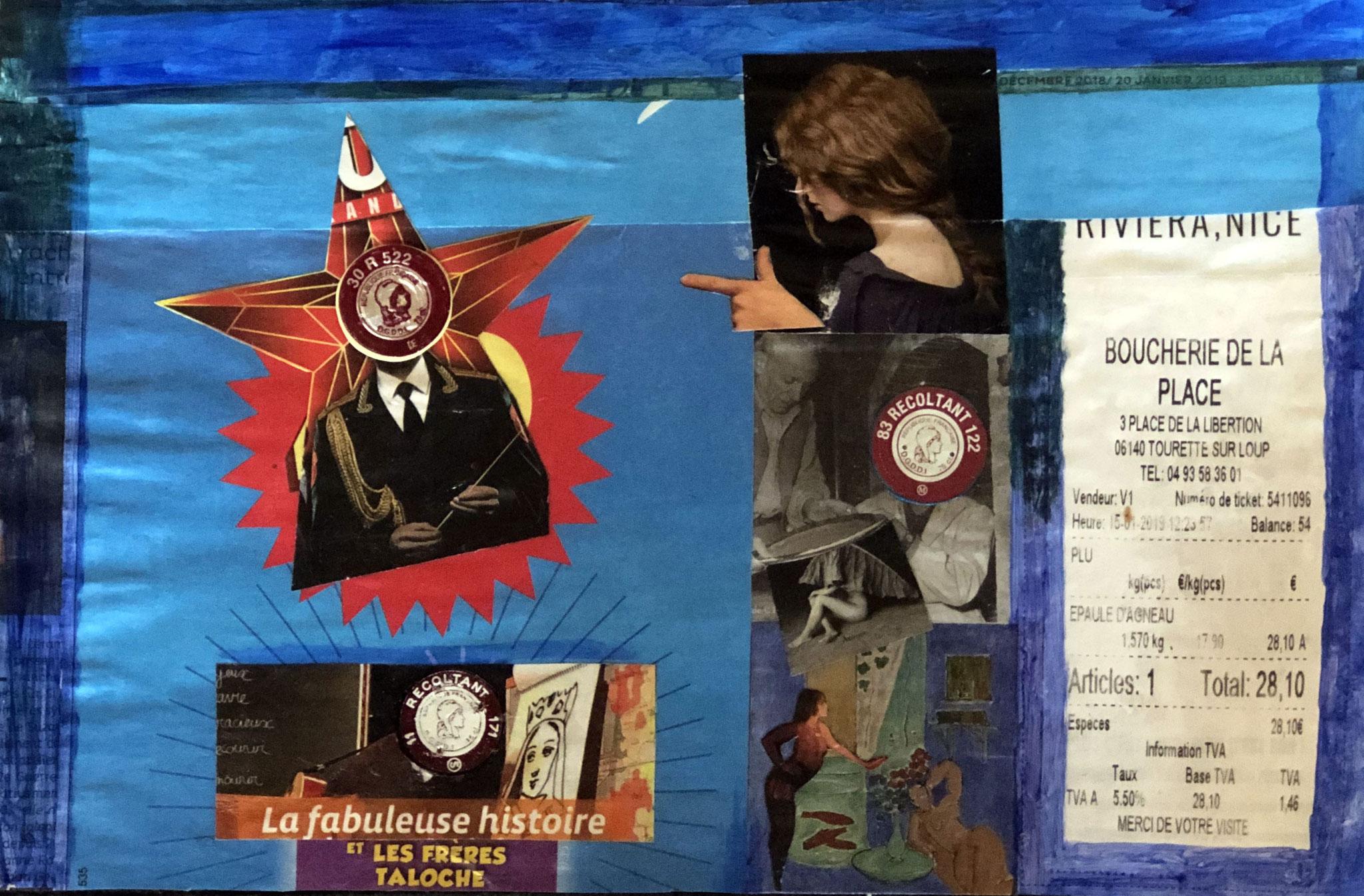 TOURRETTE S/LOUP, EPAULE D'AGNEAU    Mischtechnik auf Papiercollage - 30 x 30 cm