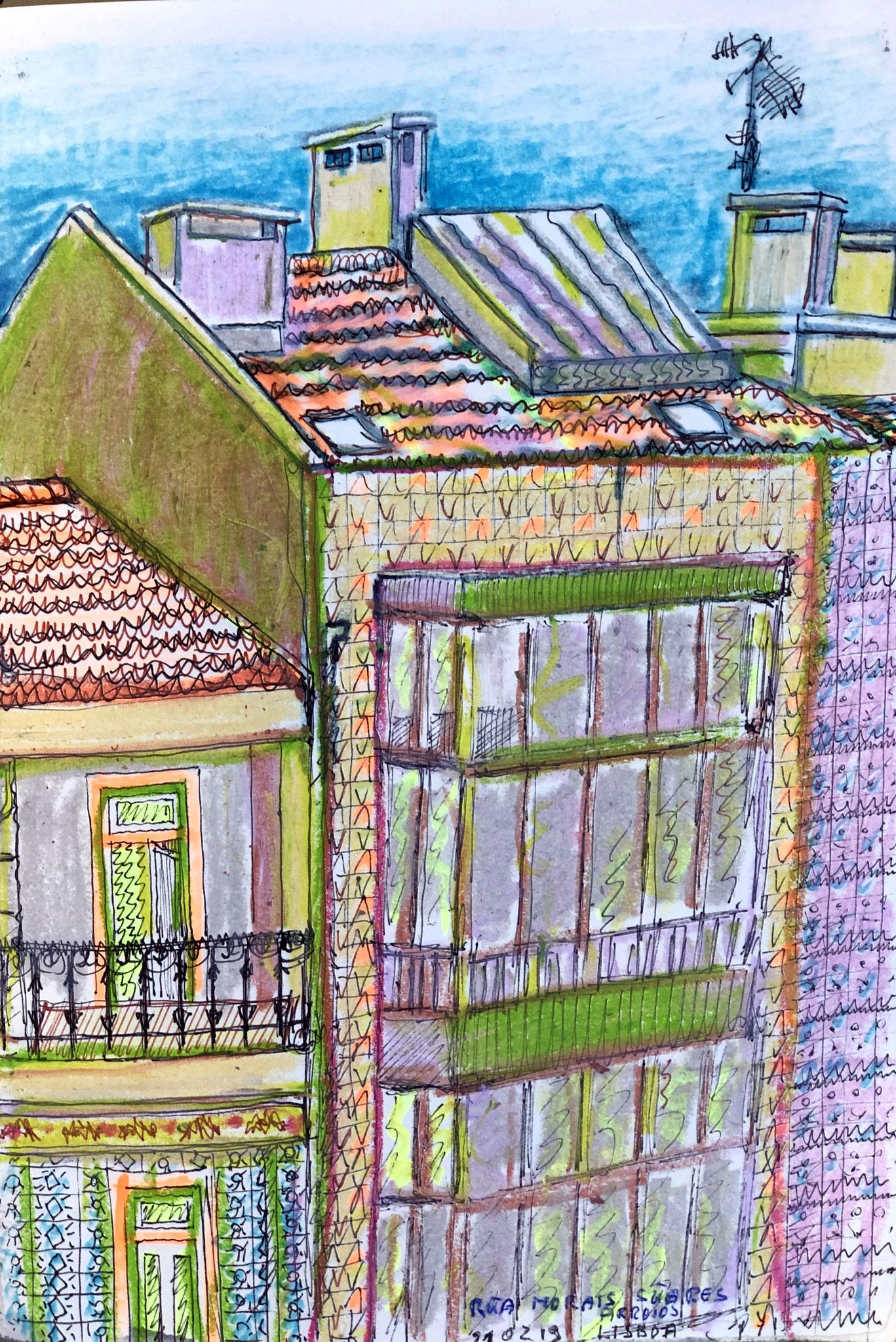 aus meinem Skizzenbuch: LISBOA, RUA MORAIS SUARES          Mischtechnik auf Papier - 28 x 20cm