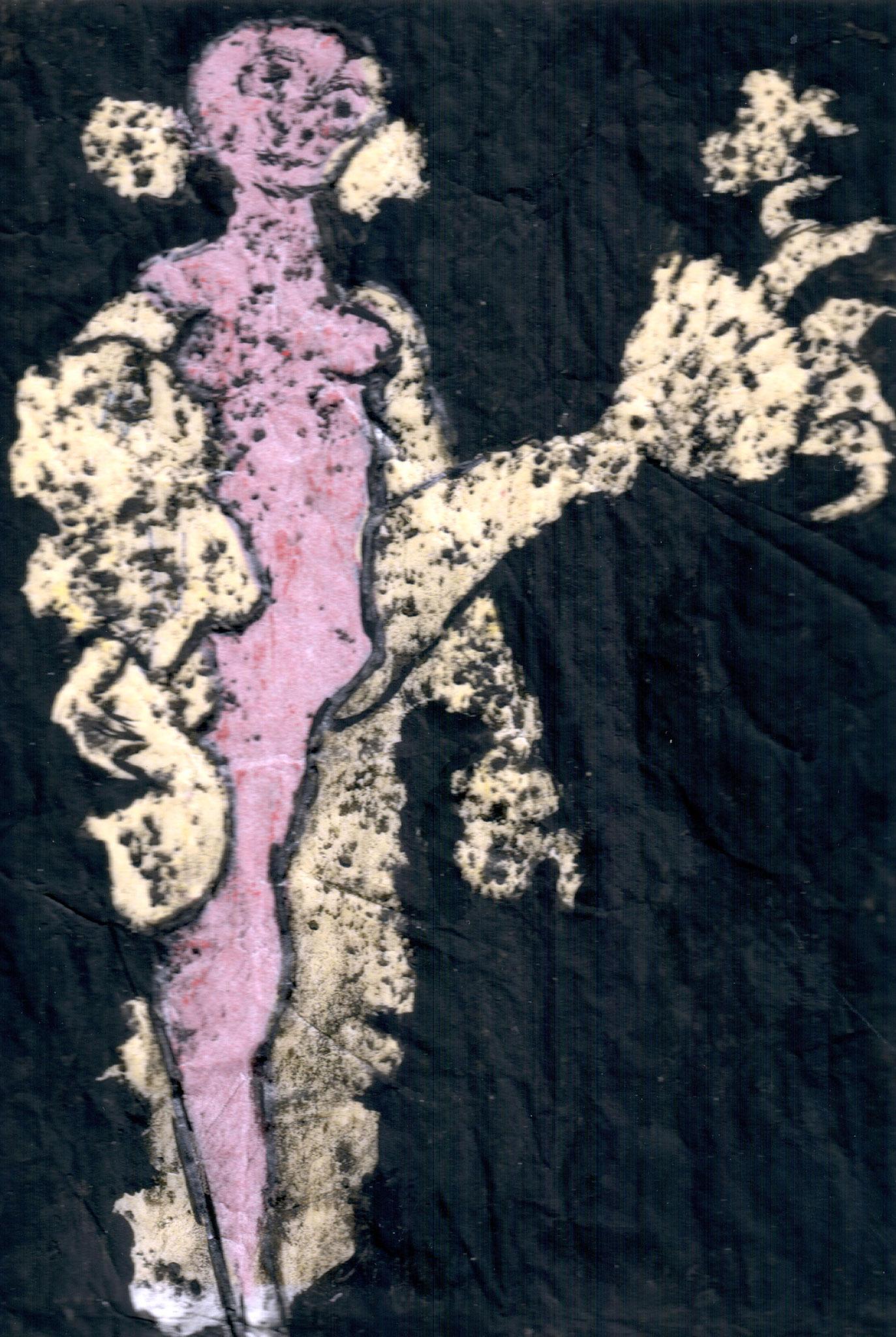 CANCAN A PARIS    Mischtechnik auf Papier - 13 x 9 cm