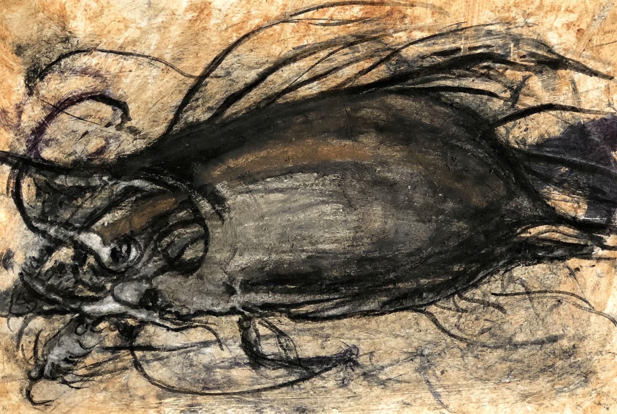 RETINTO VIII    Erden, Tintensekret vom Kalmar und Olivensaft auf Papier - 21 x 29 cm