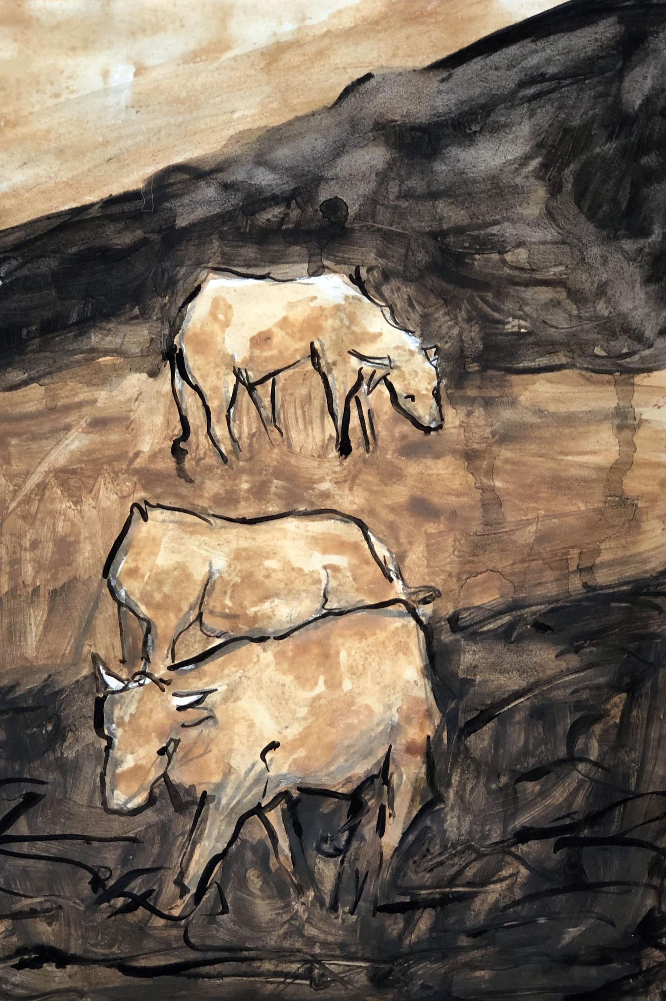 RETINTO XXV     Erden, Tintensekret vom Kalmar und Olivensaft auf Papier - 40 x 29 cm