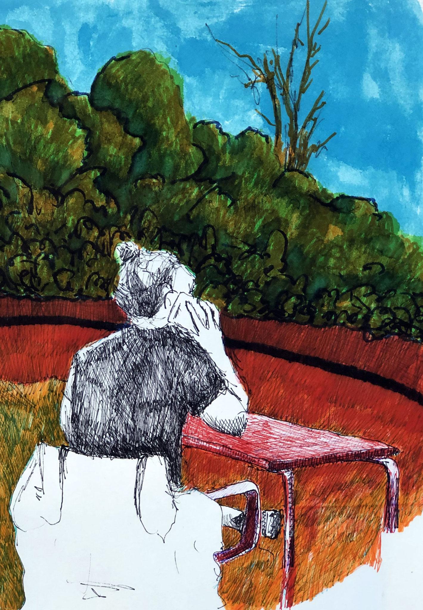 aus meinem Skizzenbuch: LISBOA, IM JARDIM AMALIA RODRIGUES     Mischtechnik auf Papier - 28 x 20cm