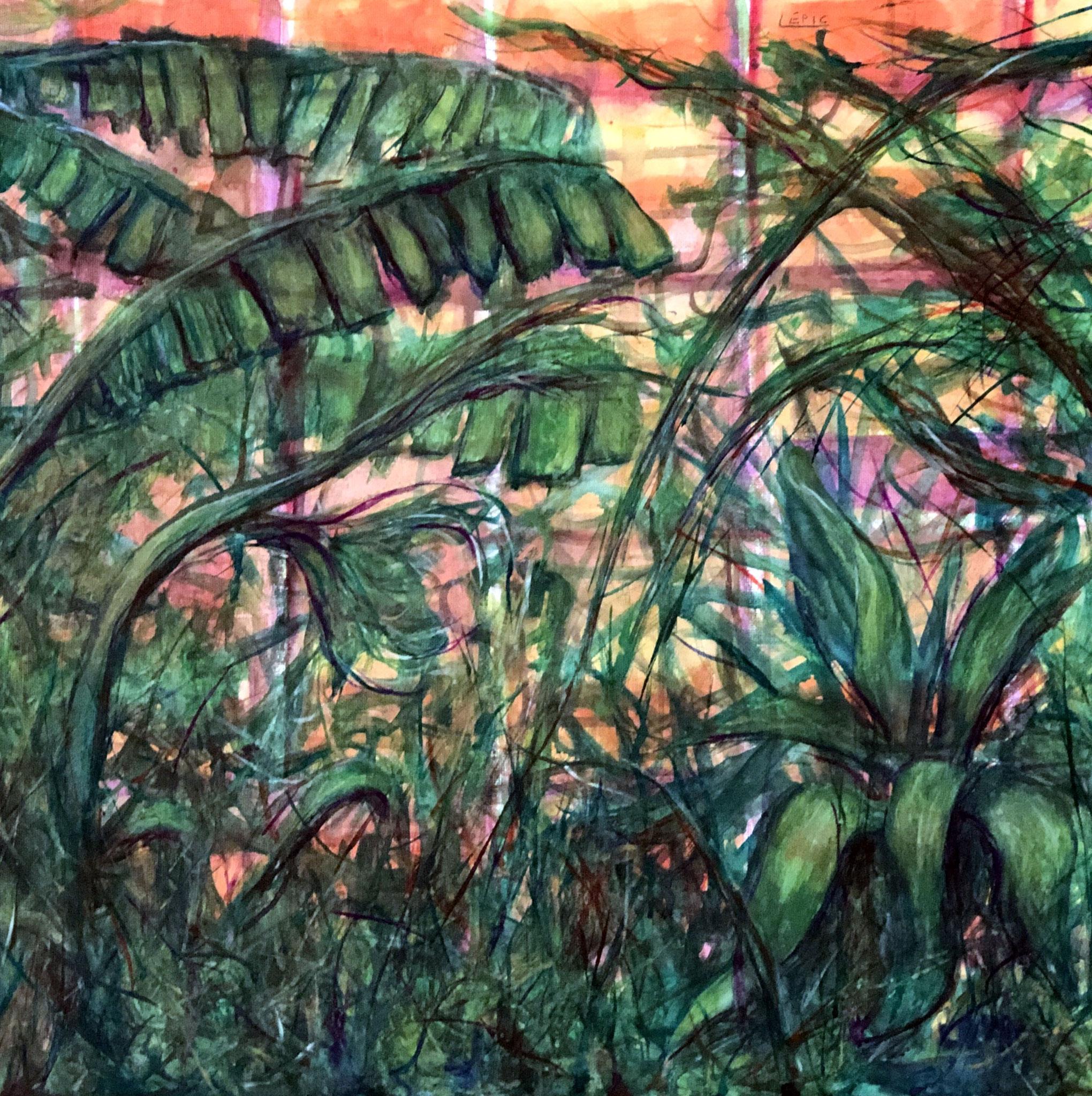 PALERMO, IL GIARDINO DELLE TARTARUGHE    Gouache auf Leinwand - 40 x 40 cm