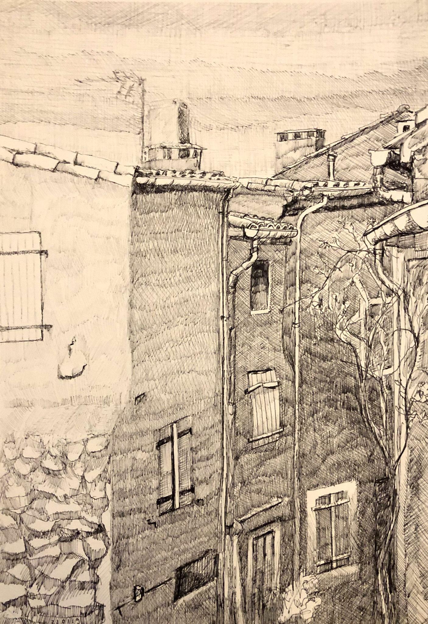 PEYRIAC-DE-MER, RUE DES CARRIÈRETTES   Tusche auf Papier - 42 x 30 cm