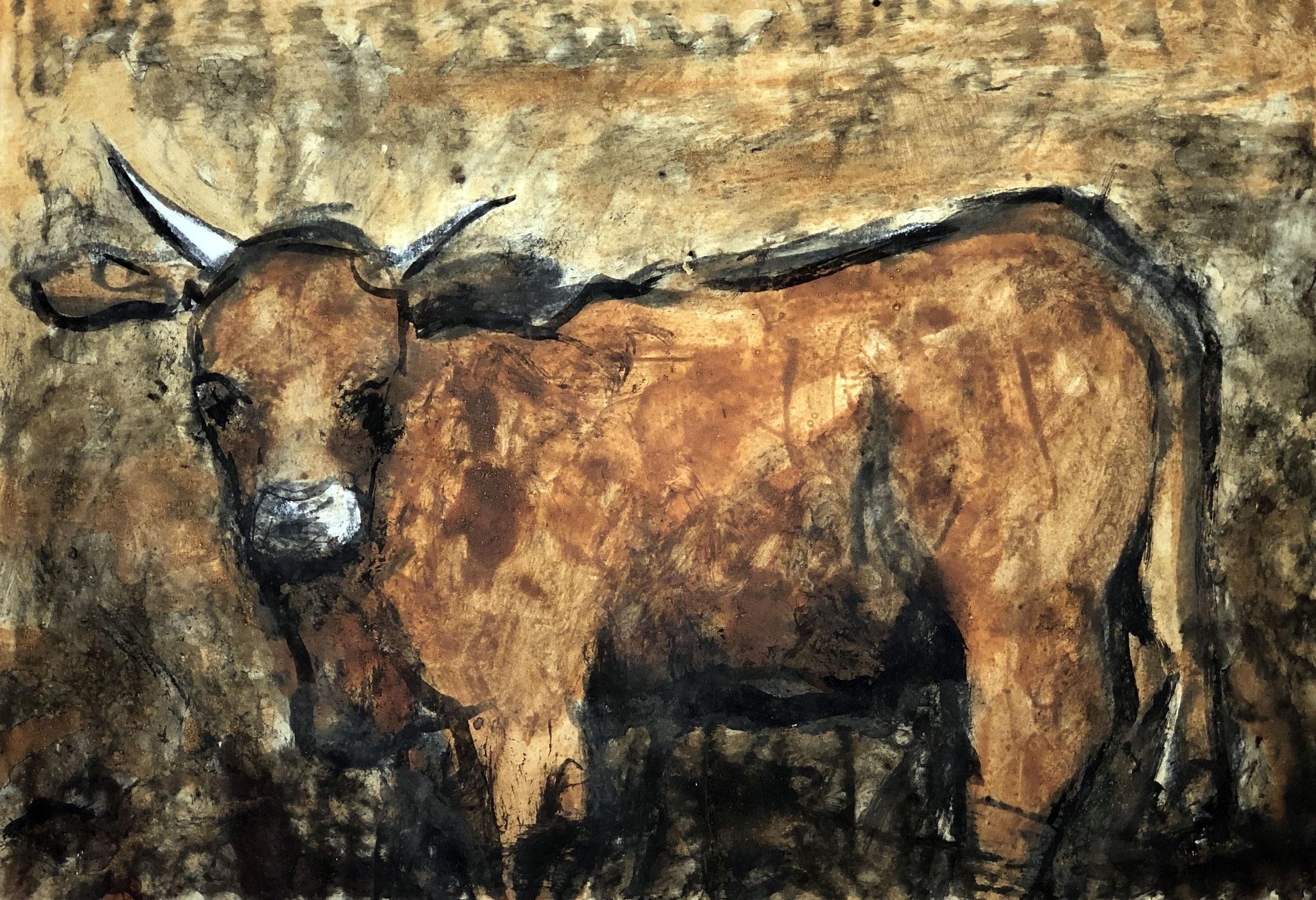 RETINTO XIII    Erden, Tintensekret vom Kalmar und Olivensaft auf Papier - 29 x 40 cm