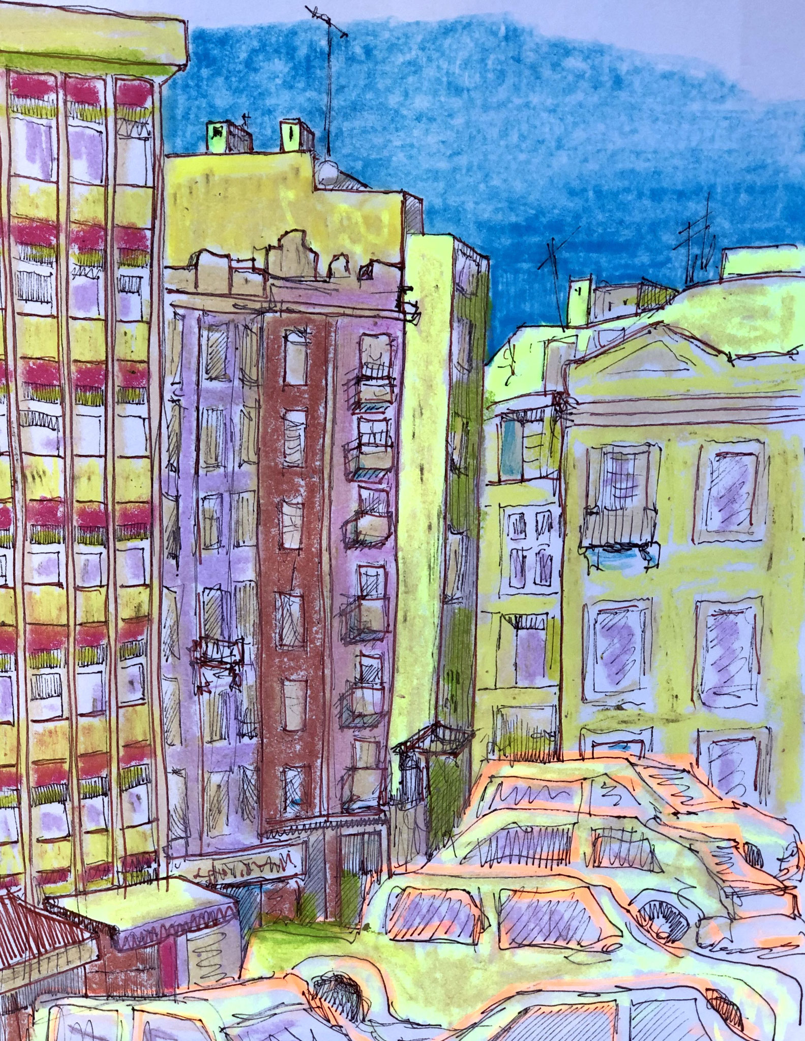 aus meinem Skizzenbuch: LISBOA, RUA LUCINDA SIONES     Mischtechnik auf Papier - 28 x 20cm