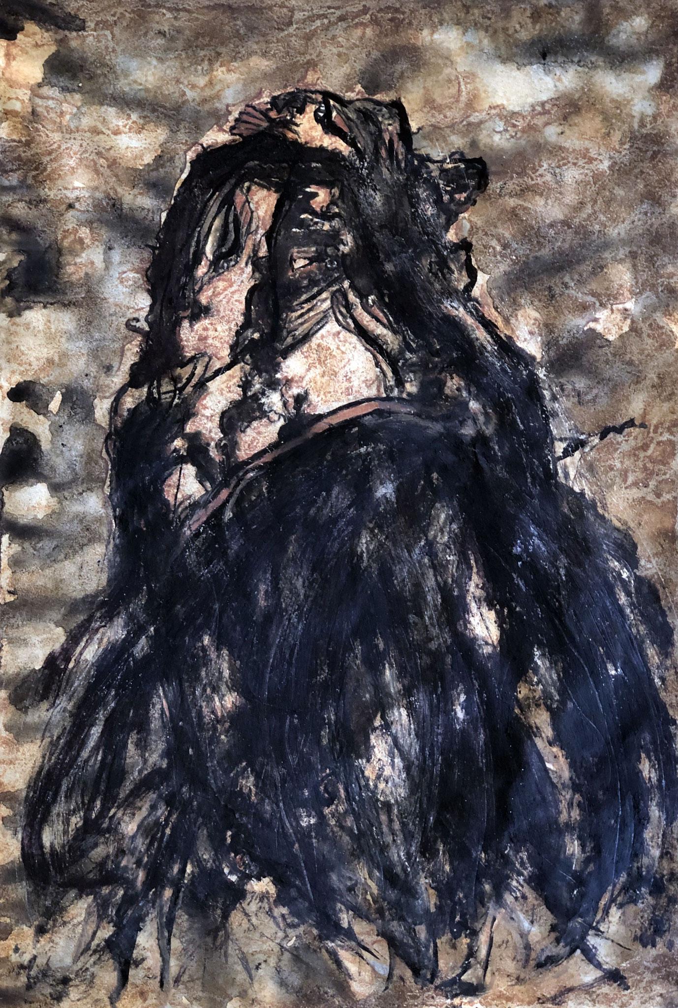 RETINTO XI    Erden, Tintensekret vom Kalmar und Olivensaft auf Papier - 40 x 29 cm