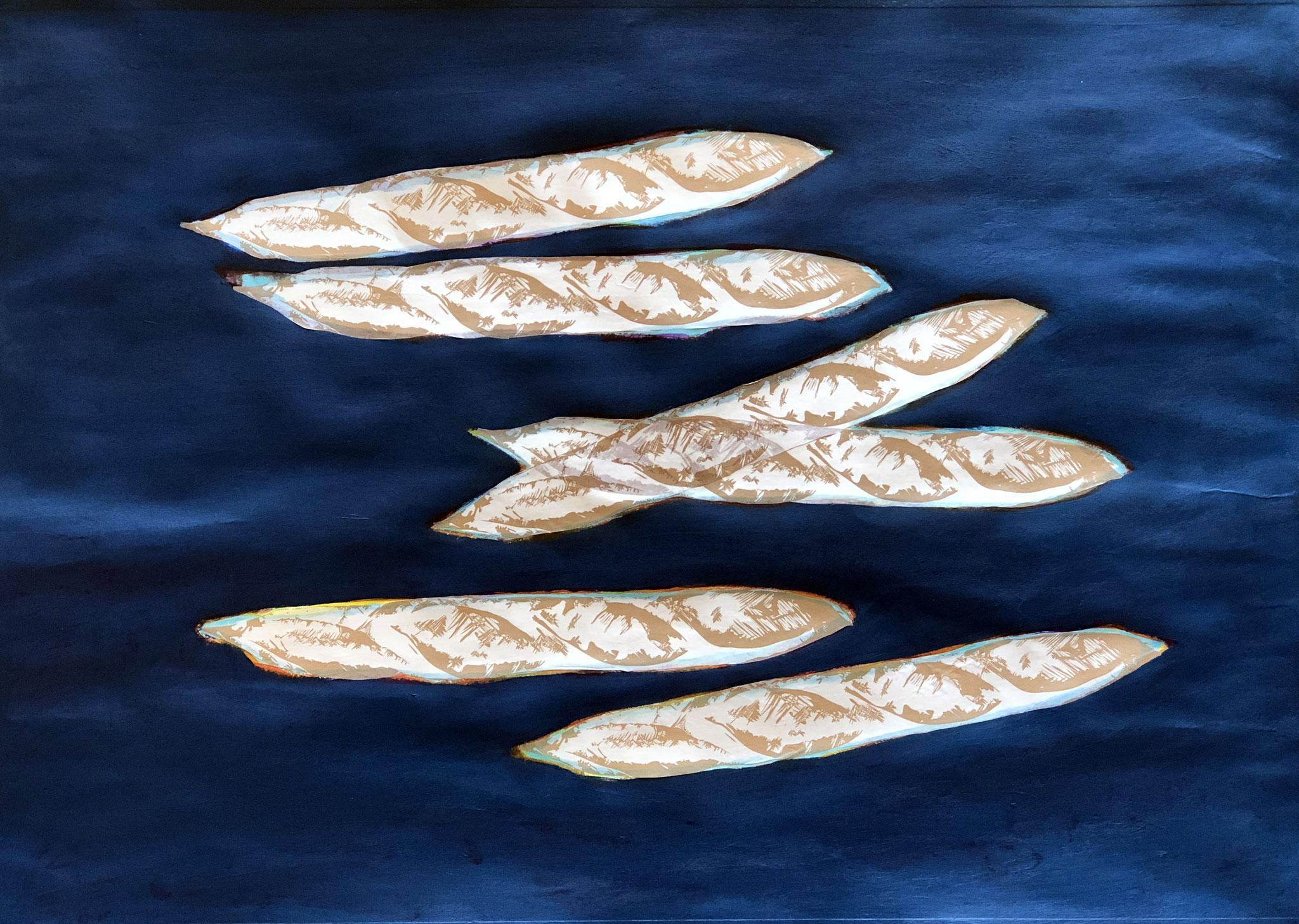 PESKED, Acryl und Papiercollage auf Papier - 50 x 70 cm