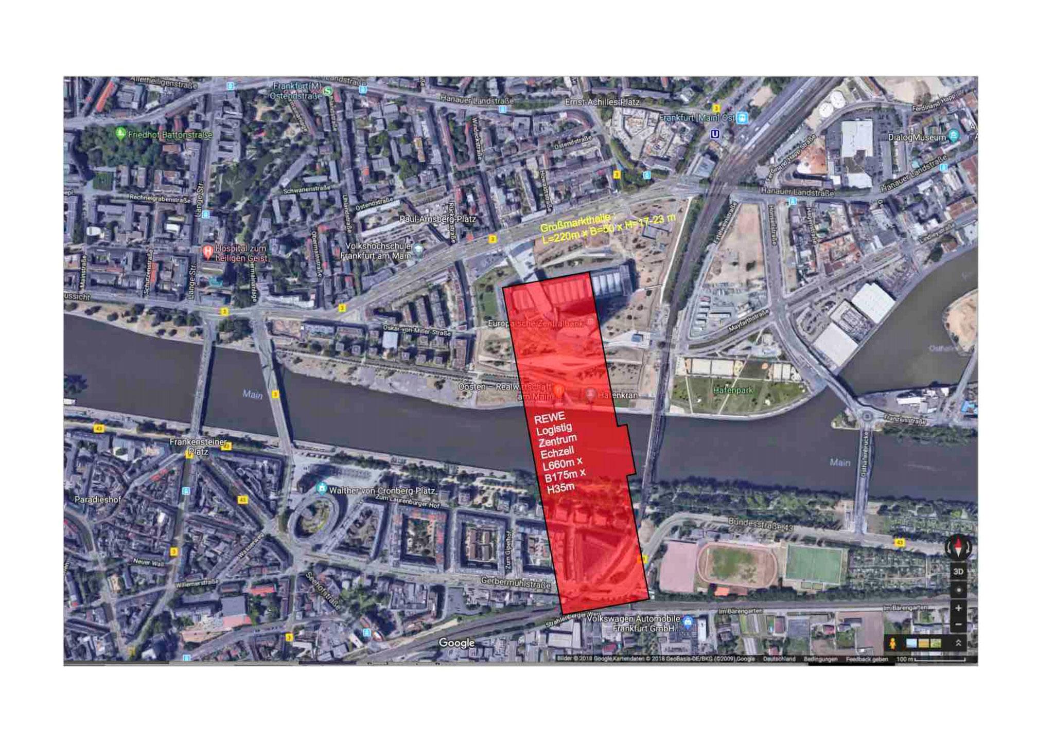 Vergleich mit ehemaliger Großmarkthalle in Frankfurt zeigt: Das REWE-Gebäude (rot) ist um ein Vielfaches größer.