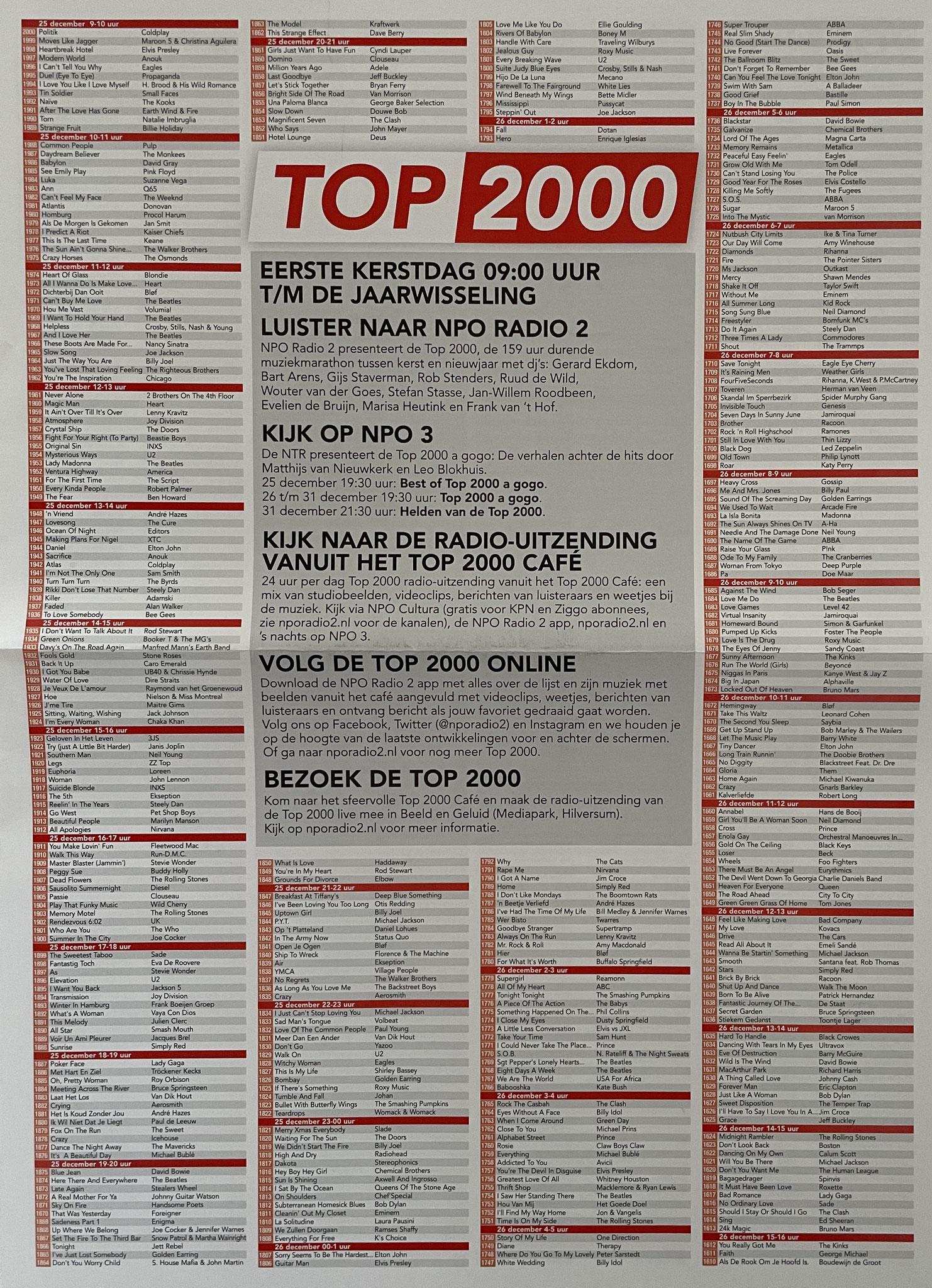 Top 2000 krant 2016