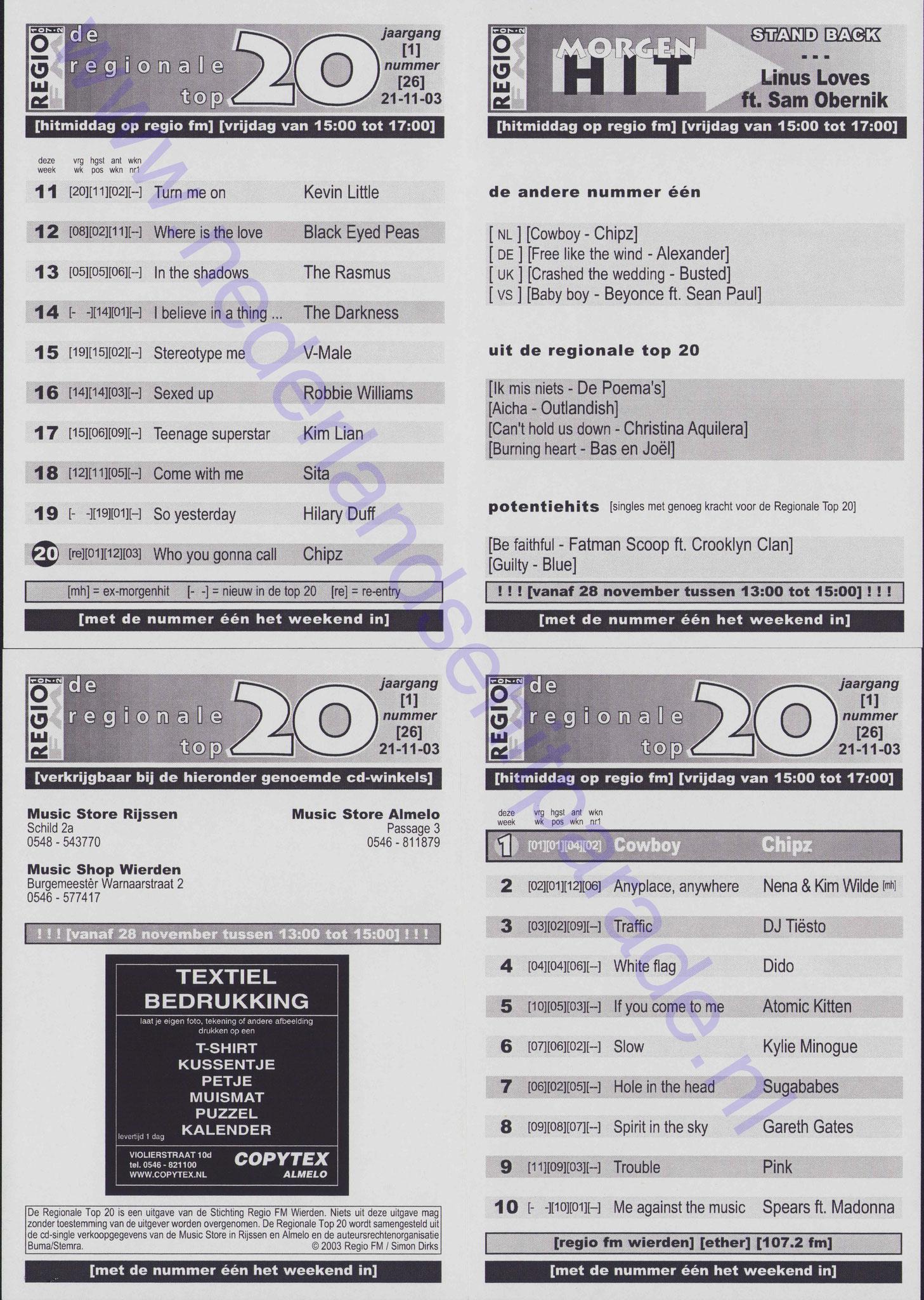De regionale top 20 Almelo - Wierden 21 november 2003