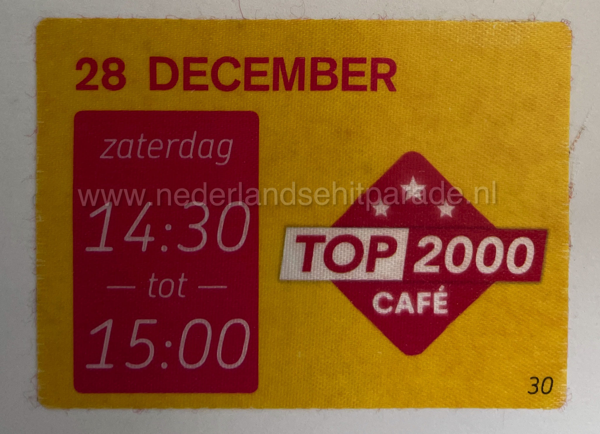 Top 2000 cafe toegang sticker