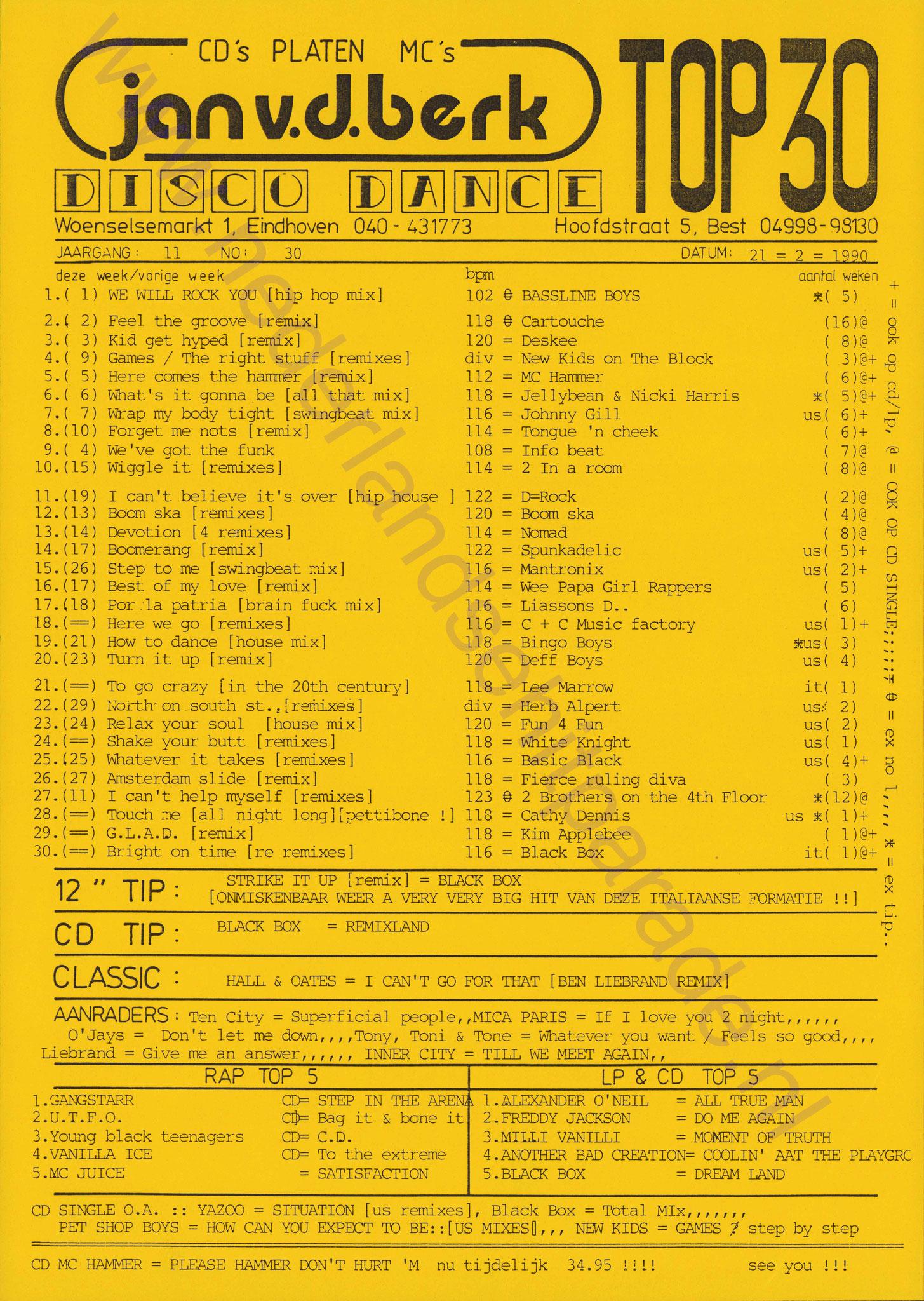 Jan van de Berk (Eindhoven) disco dance top 30 21 februari 1990