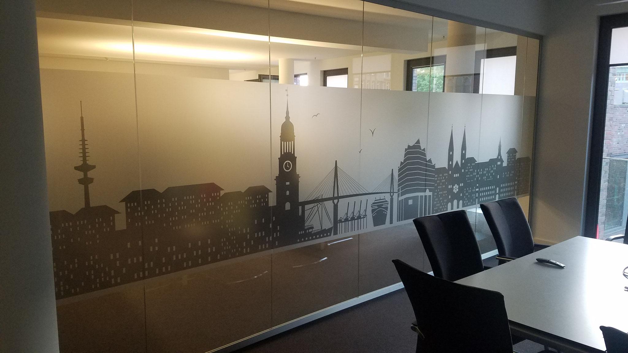 Digitaldruck auf Glasmattierungsfolie von der Druckseite betrachtet