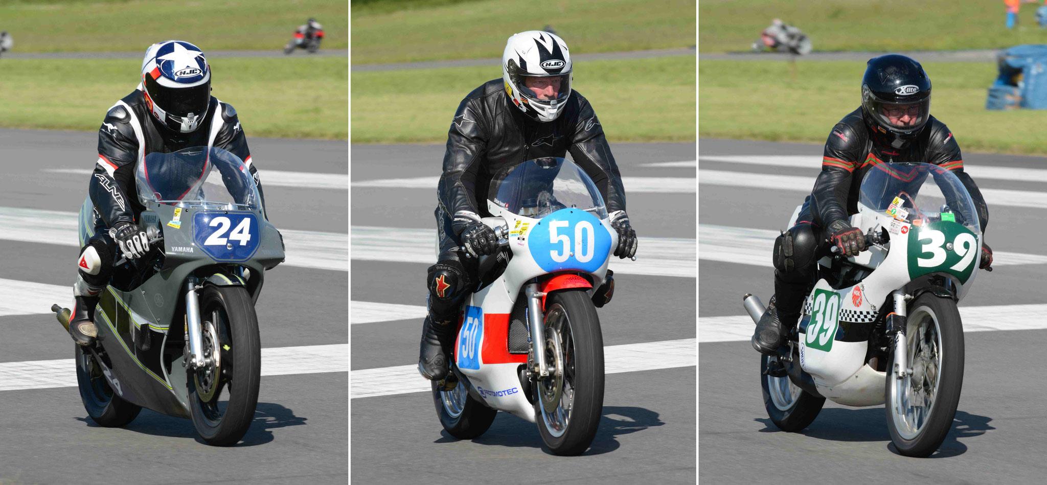 v.l. Wolfgang Reichert BSR-Yamaha TZ350G 1980 / Urban Jussel Harris-Yamaha TZ350 1979 / Volker Klose Yamaha RD350 1973