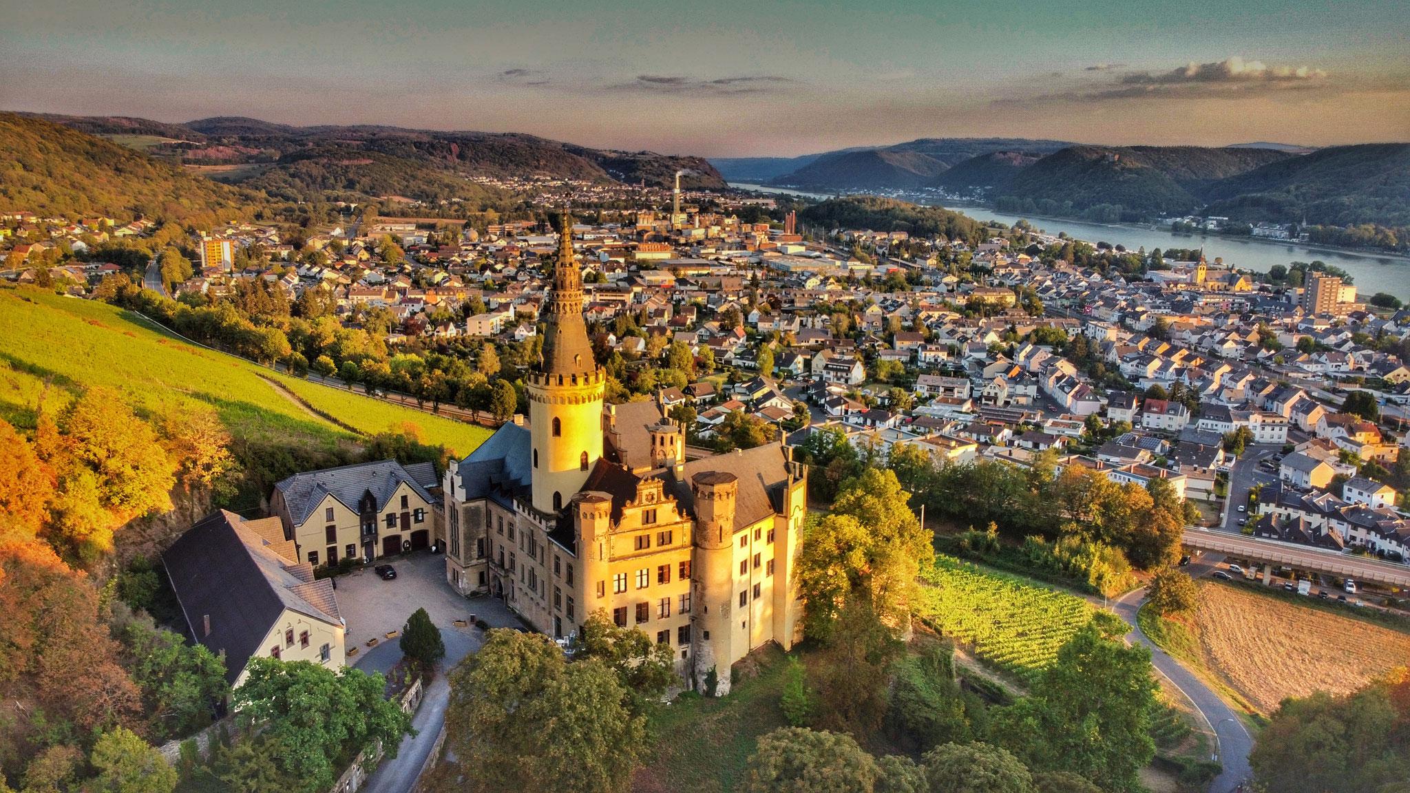 Drohnenaufnahme mit Blick über Bad Hönningen