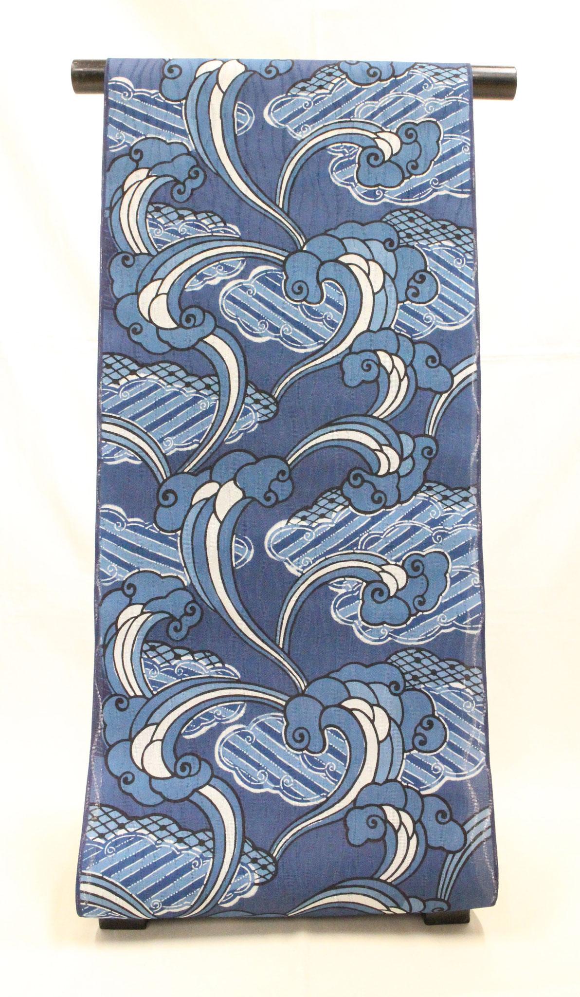 藍型 霊芝雲に霞 桐生紬