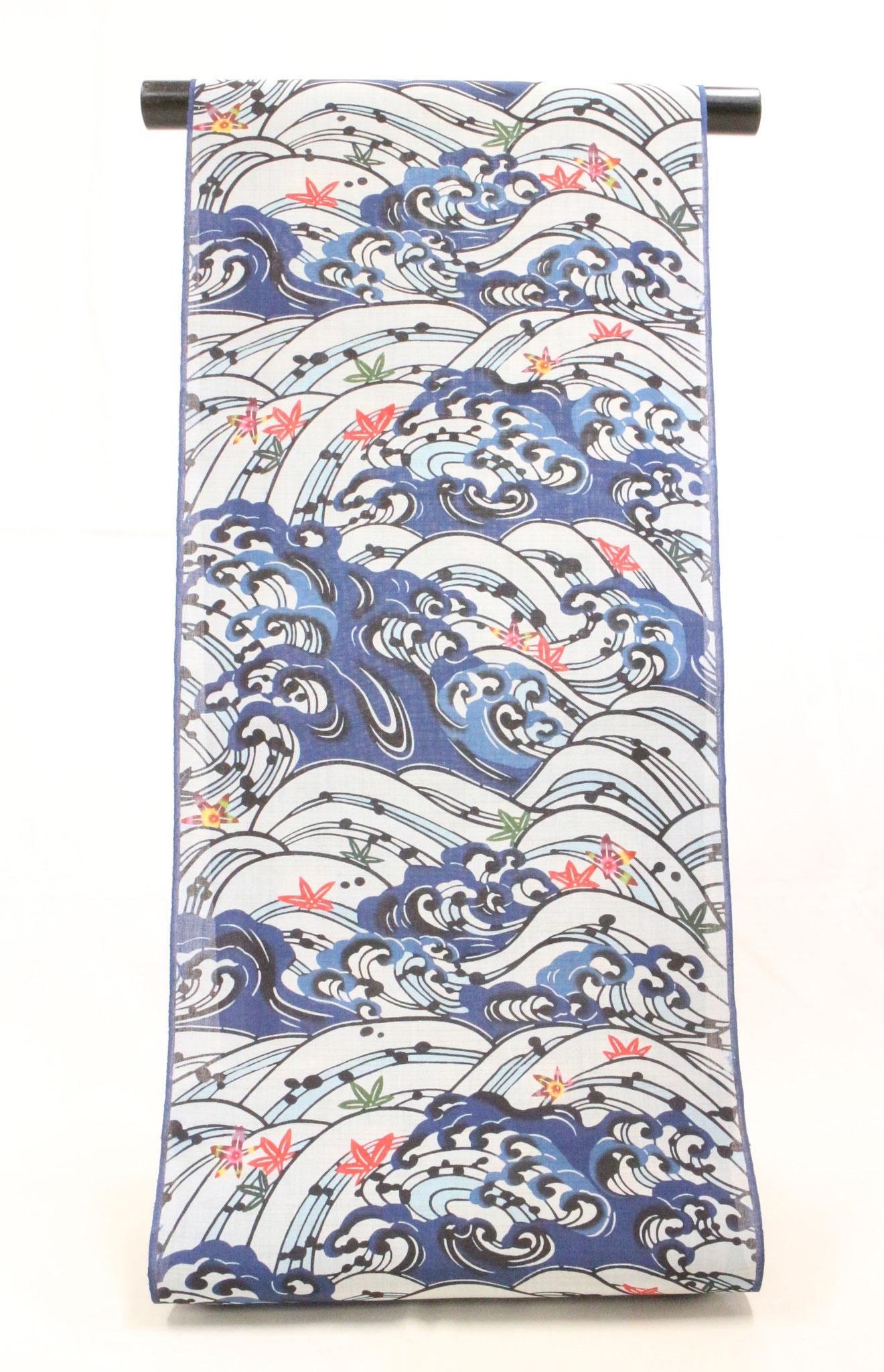 紅入り藍型古典柄 波に楓  小千谷麻