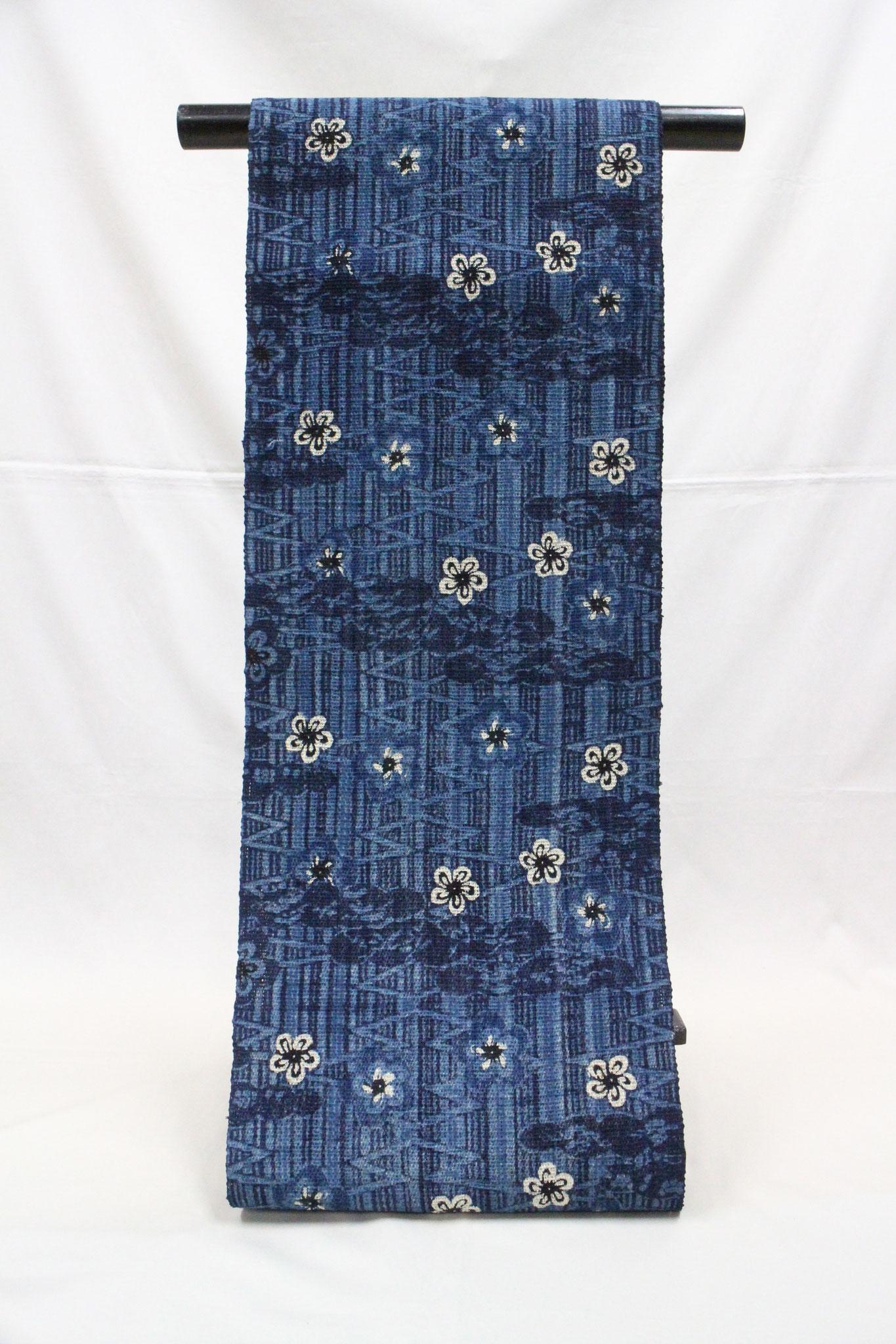 藍型古典柄 梅松菱模様   科布