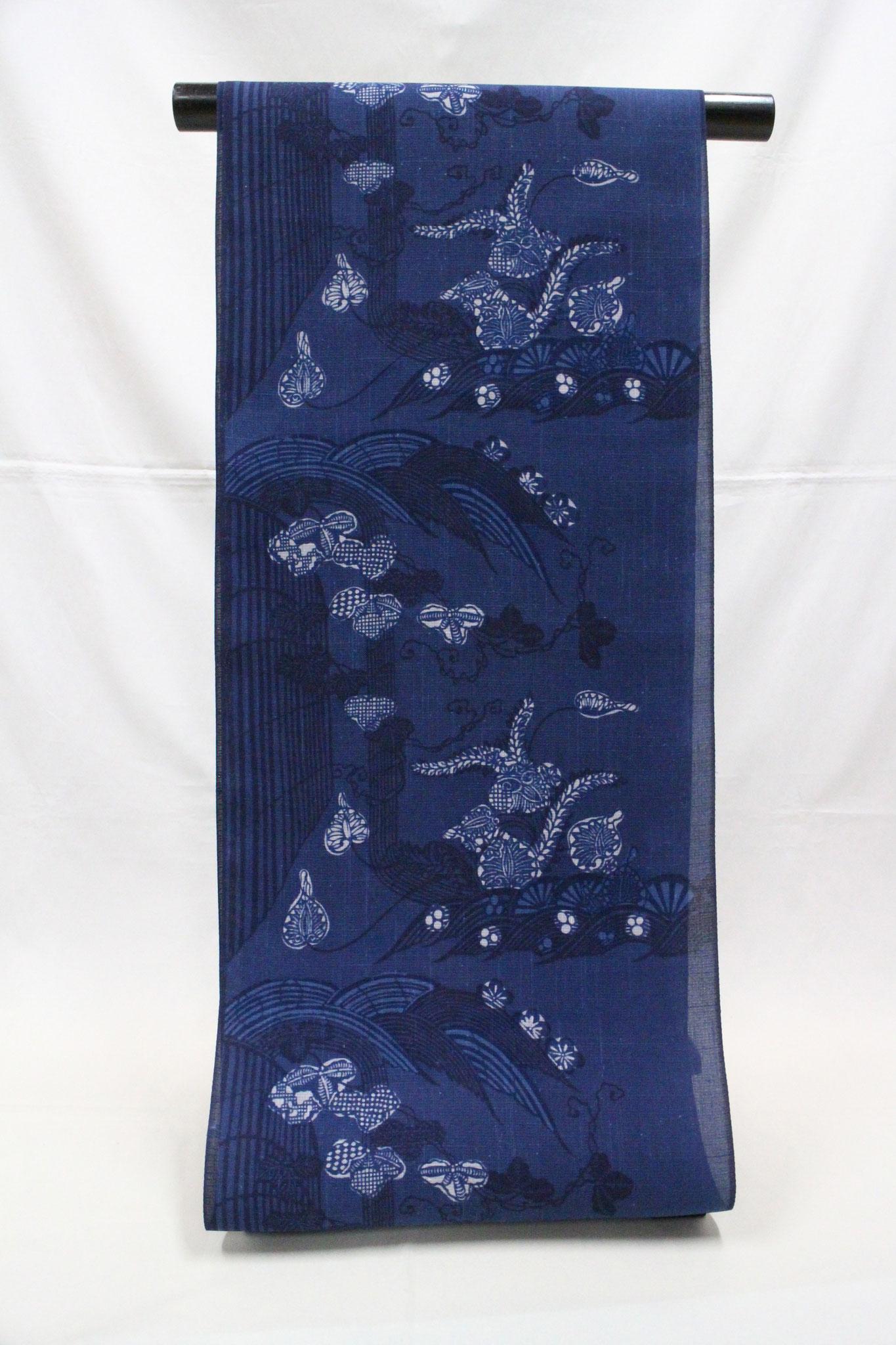 藍型古典柄 流水に葵   夏絹