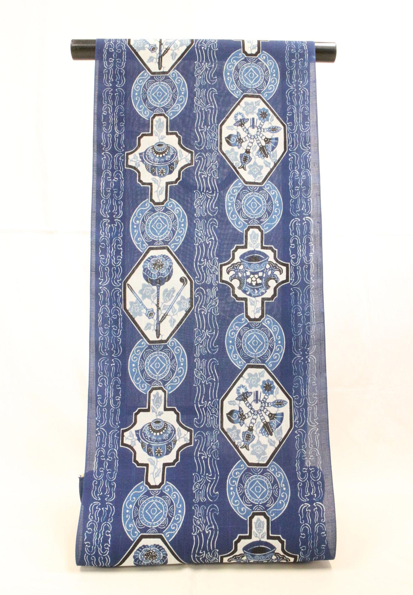 藍型 金細工  夏絹