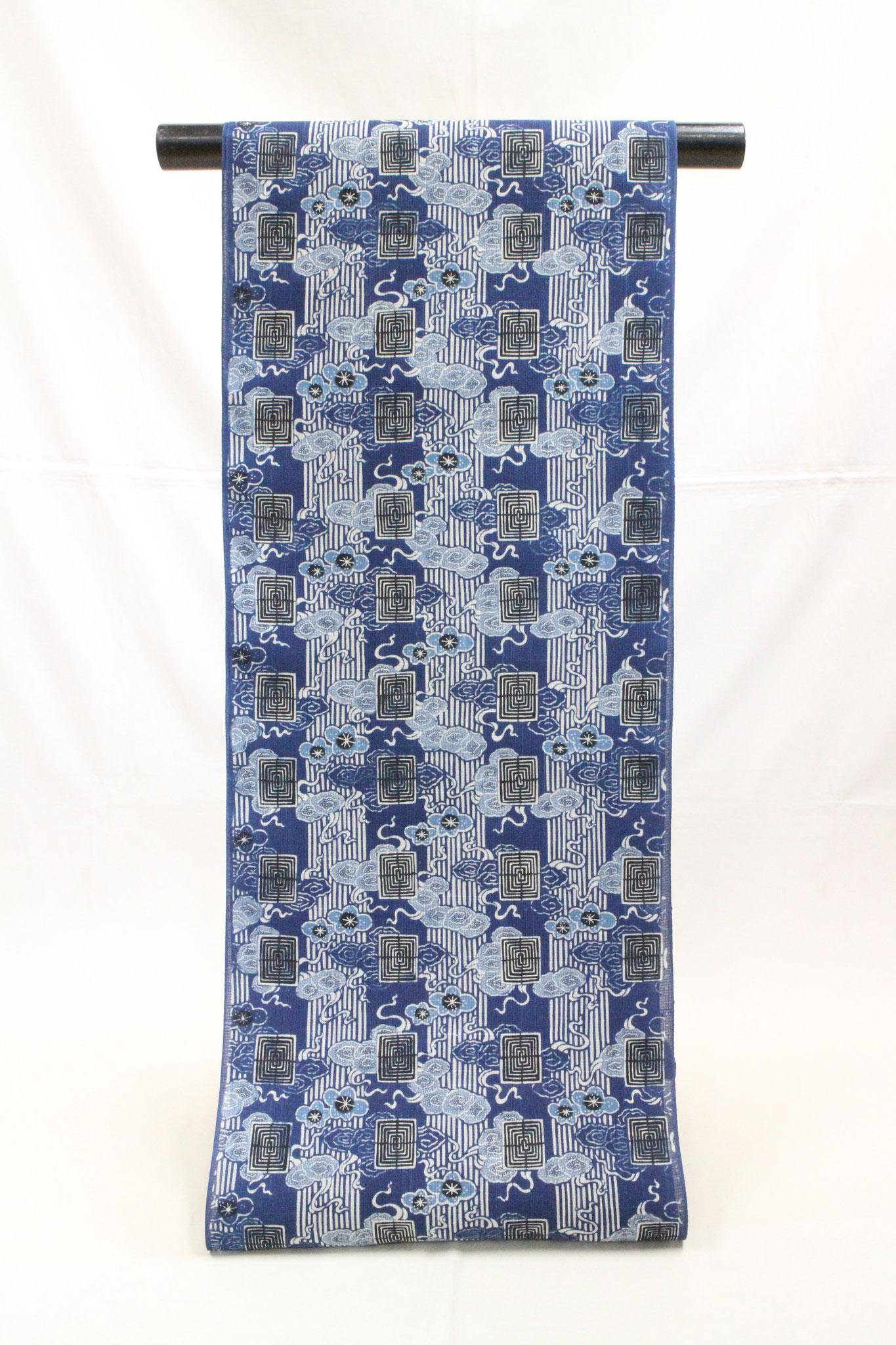 藍型古典柄 梅瑞雲縞模様 夏絹