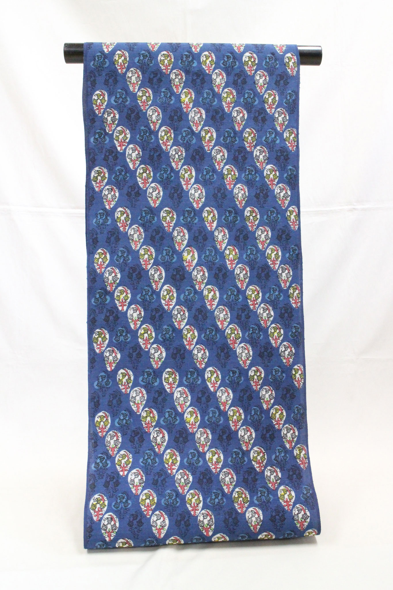 紅入り藍型 ブーゲンビリア  紬